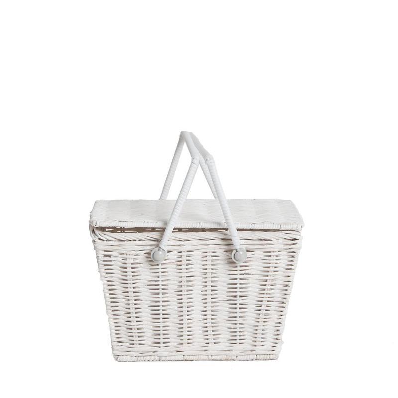 Piki Rattan Basket - White