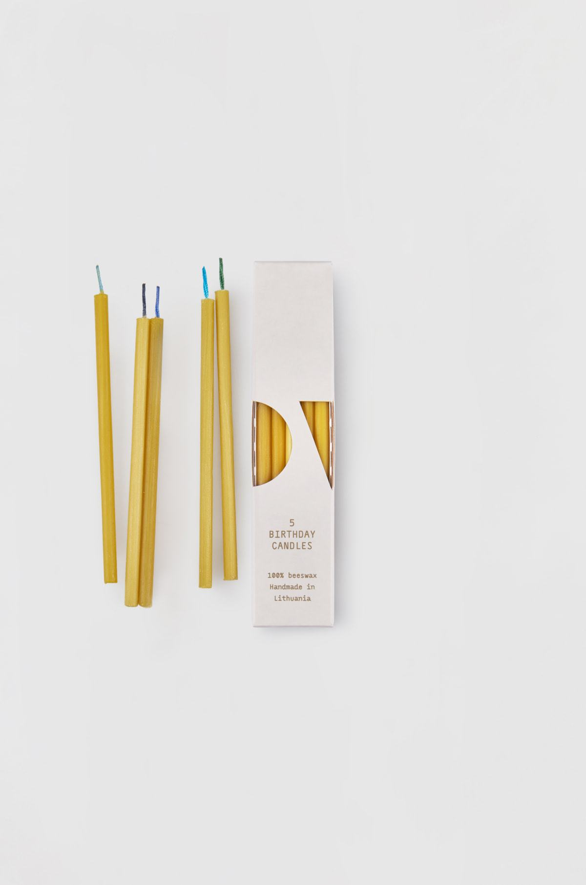 Pure beeswax birthday candles  x 5 - Blue toned cotton wicks