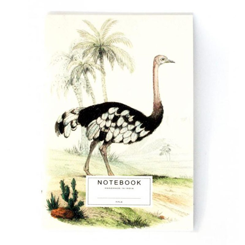 Ostrich Notebook - with cloth bag