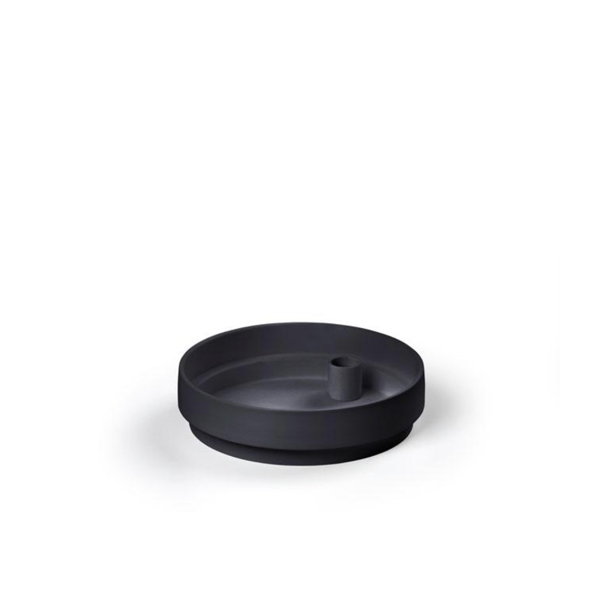 Orbital Step Black Candle Holder in Matte Clay - Large