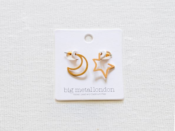 Chiarra Moon and Star Mismatched Earrings Gold