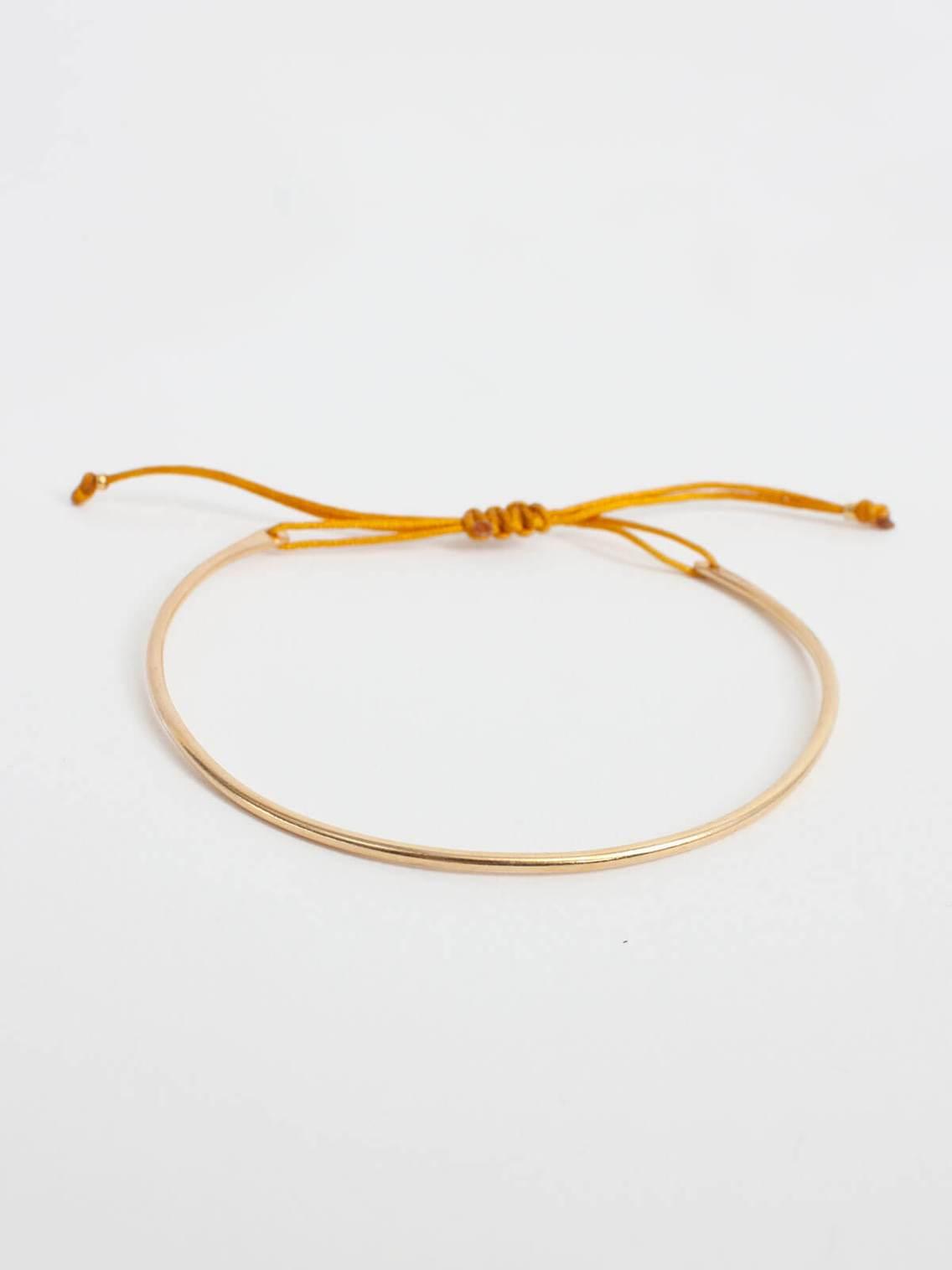 Gold and thread luna bracelet -  Mustard