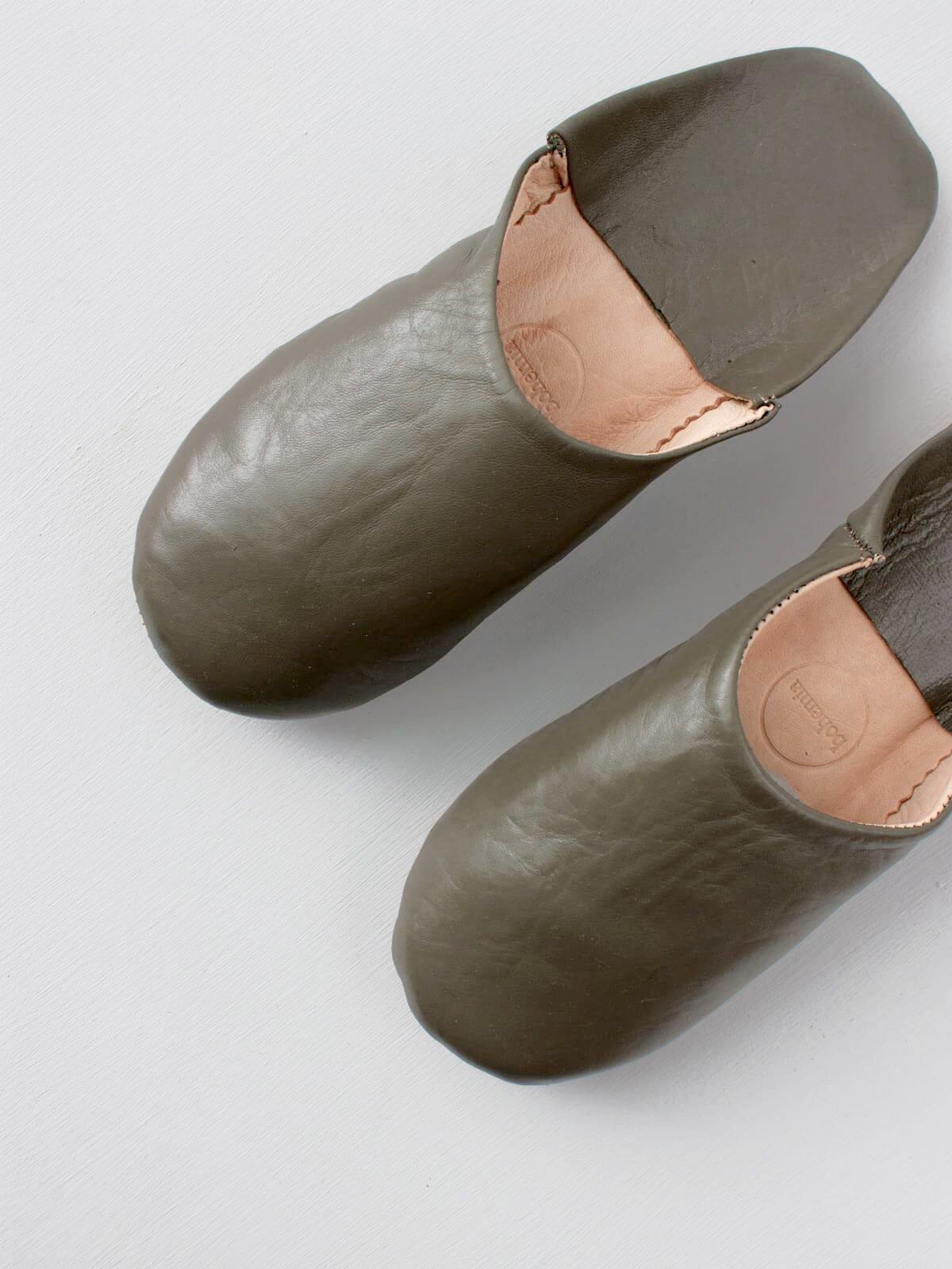 Moroccan Babouche Slippers Khaki