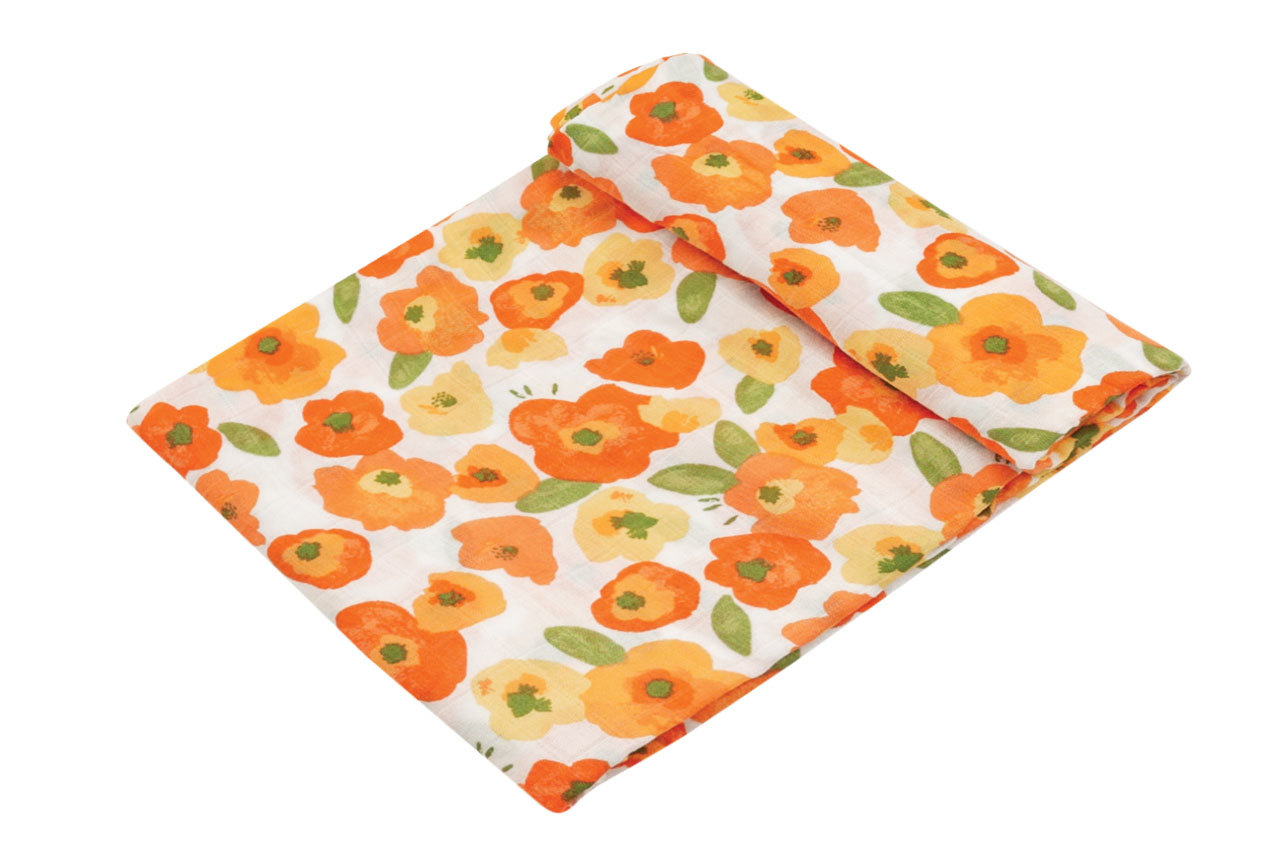 Poppy Fields Swaddle Blanket