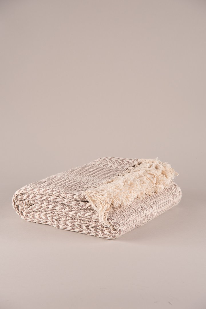 Beige Cotton Stripe Weave Throw