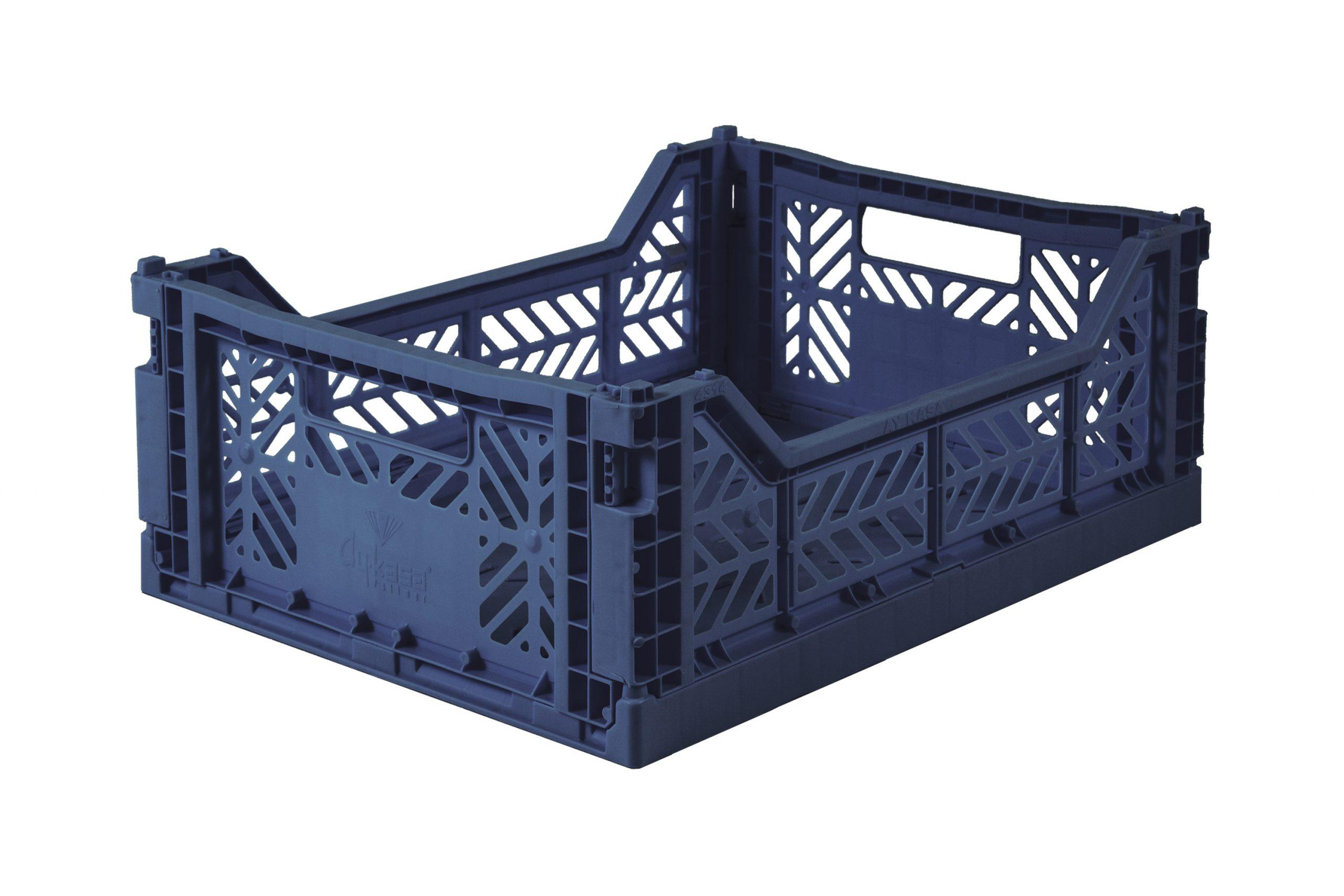 Midi Folding Crate -  Navy