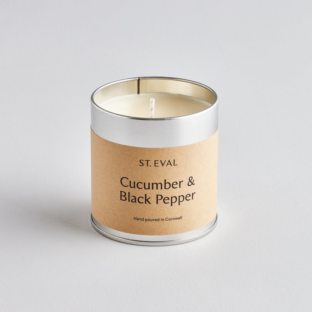 Cucumber & Black Pepper Scented Tin Candle