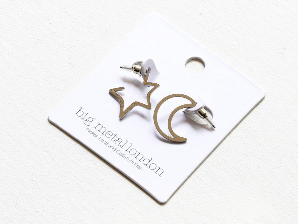 Chiarra Moon and Star Mismatched Earrings Silver