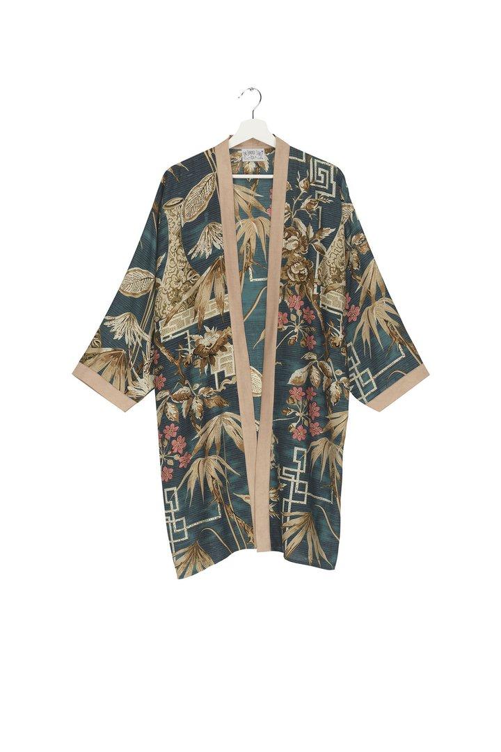 Bamboo Teal Collar Kimono