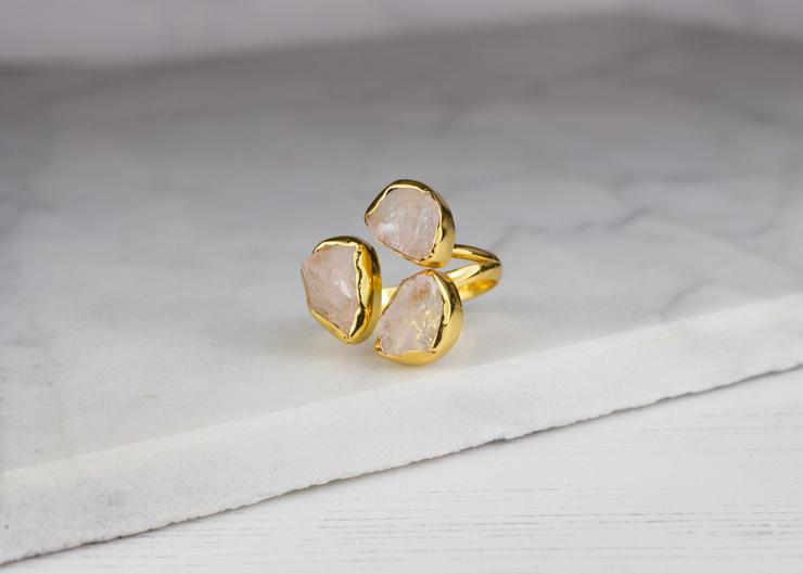 Rose Quartz Triple Ring