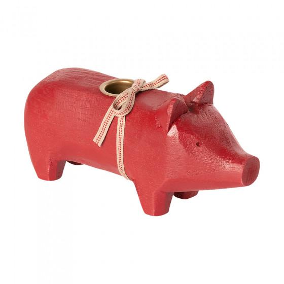 Wooden pig Candle holder