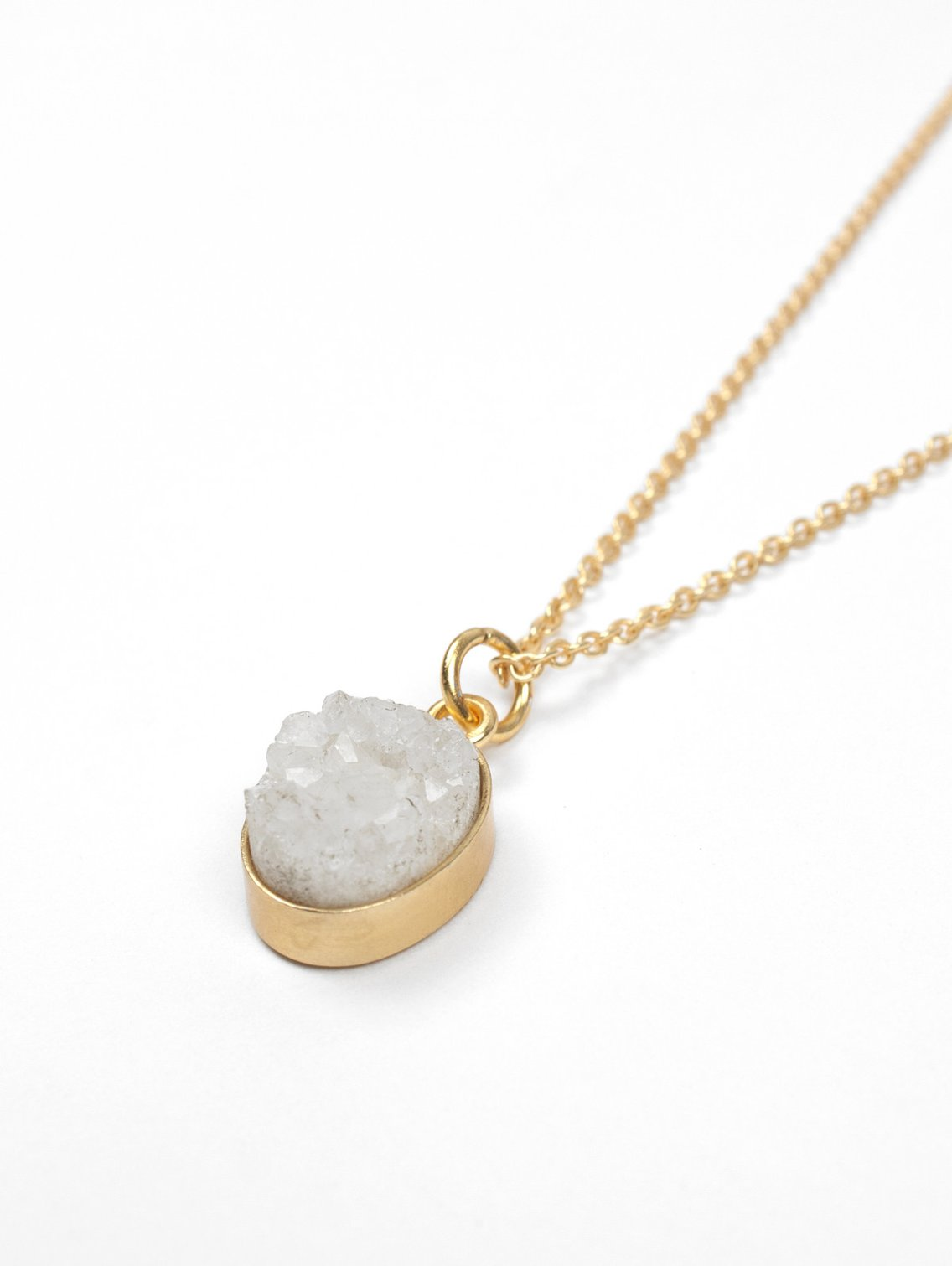 Oval Druzy Necklace - Natural