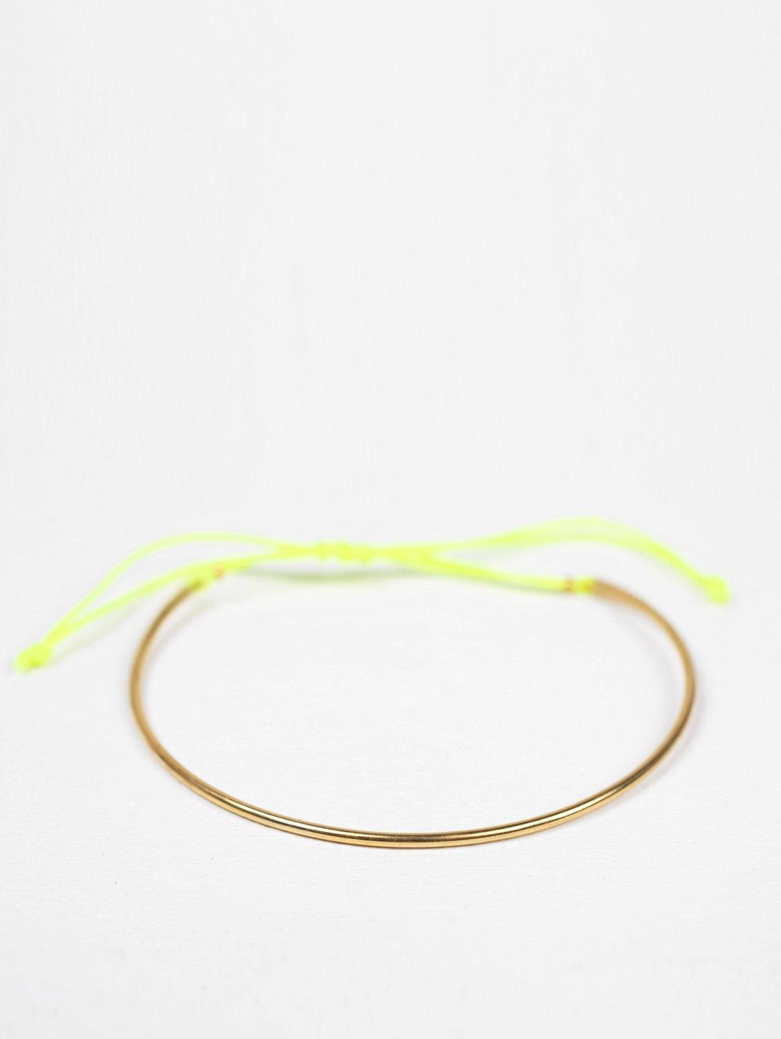 Gold and thread luna bracelet - Neon Yellow