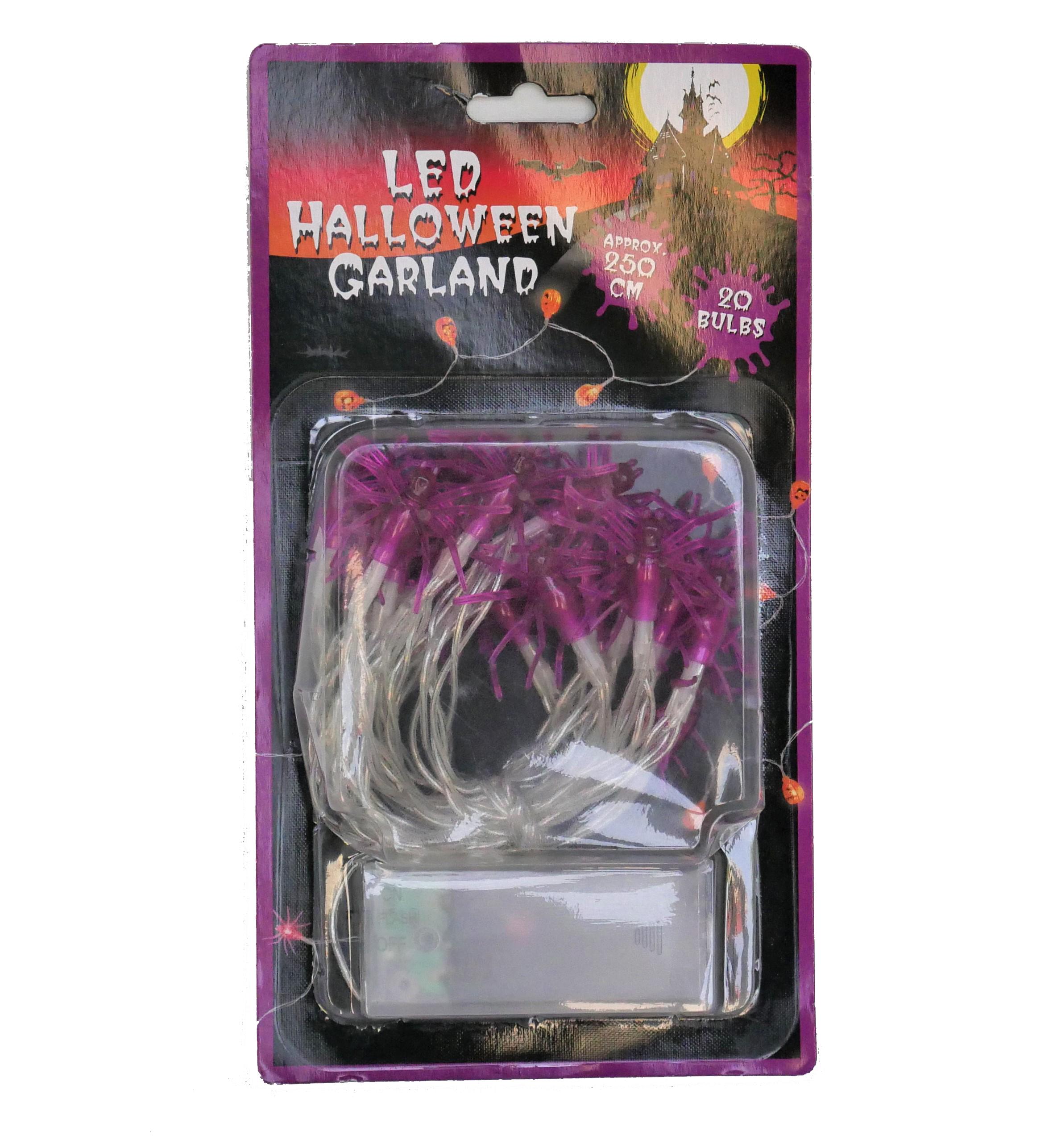 LED Belysning Halloween lila spindlar