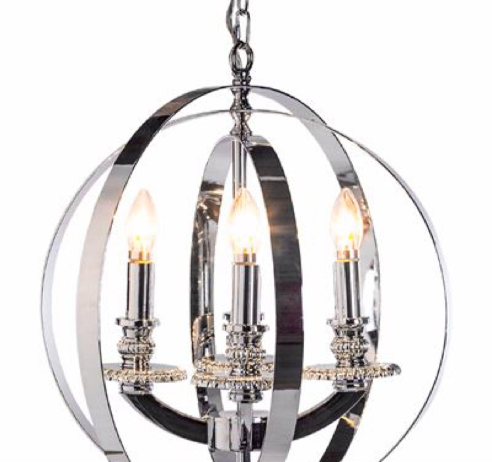 Chrome sphere chandelier