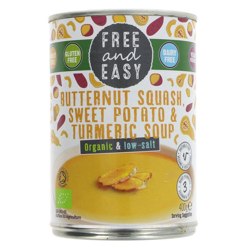 Free & Easy Butternut, Sweet Potato, Turmeric Soup