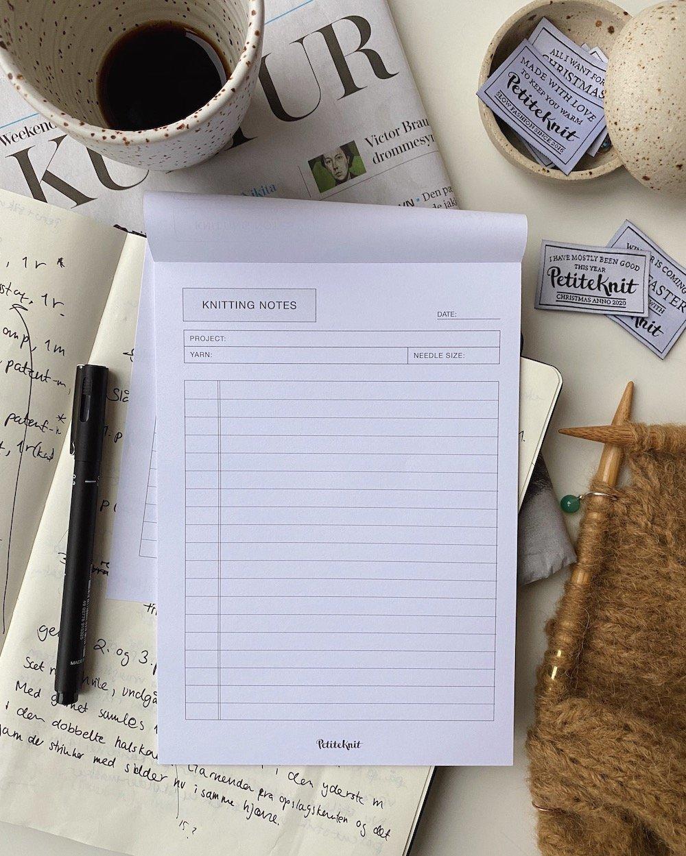 """""""Knitting Notes"""" notatblokk A5"""