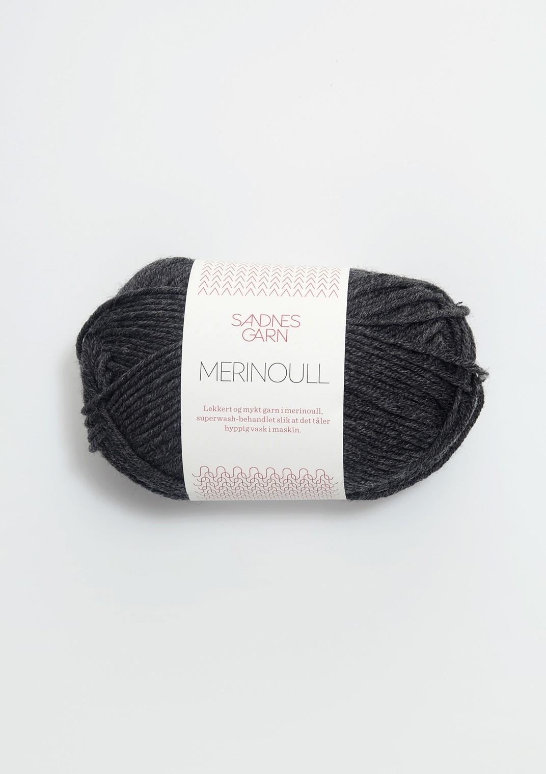 SANDNES 1055 mørk gråmelert Merinoull