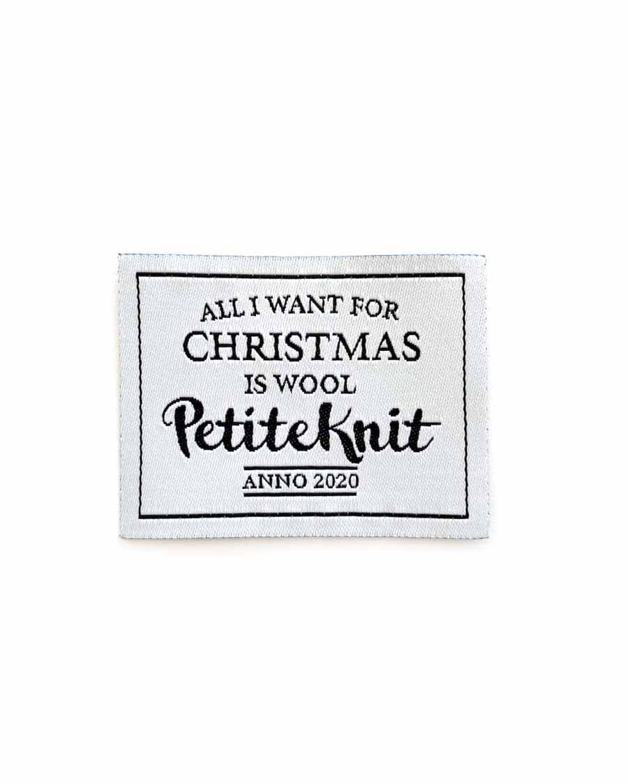 """Label """"All I want for Christmas is Wool"""" PetiteKnit"""
