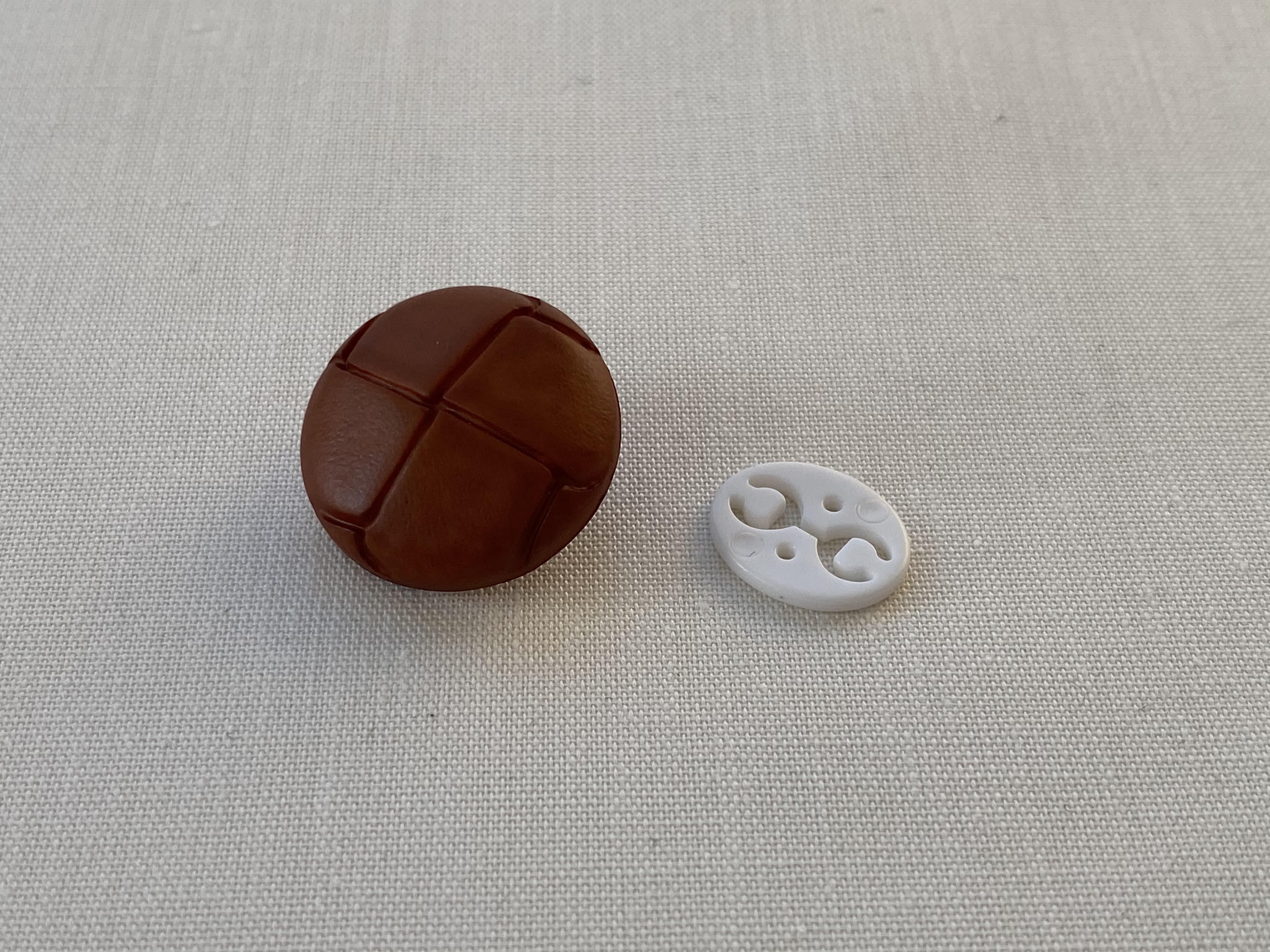 Lærknapp 23 mm brun