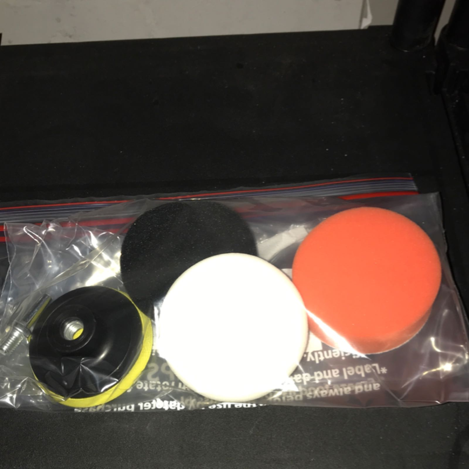 h. Backing pad 3 inch with drill adapter and 3 pads