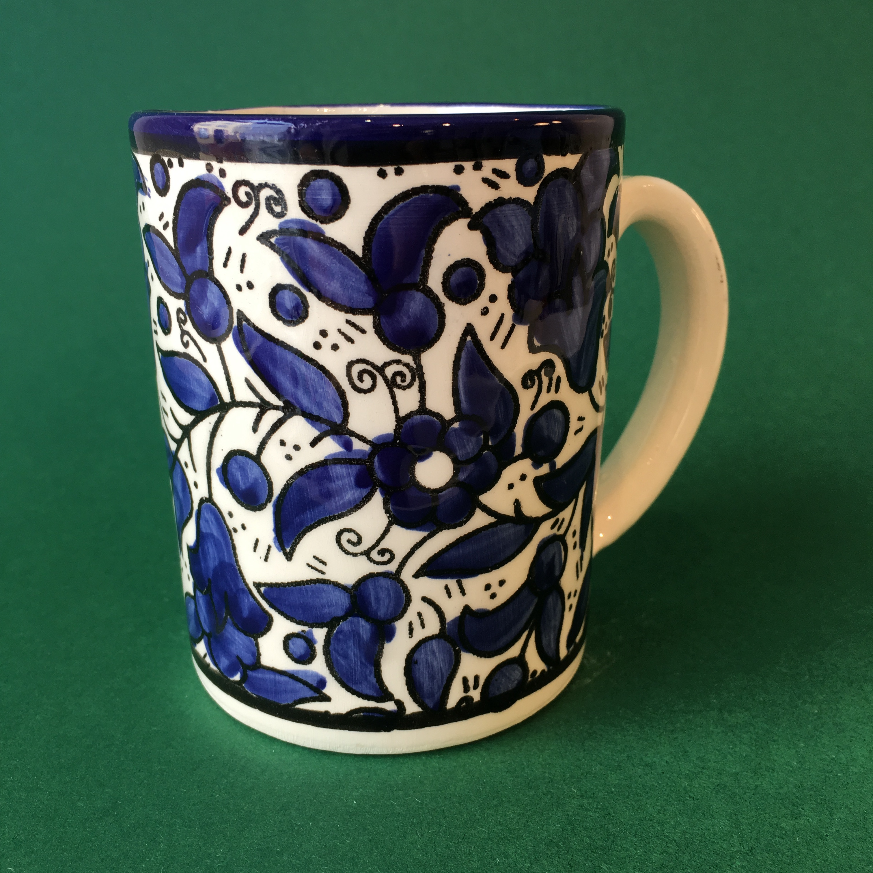 Stor keramikkopp, blå (stort mønster)
