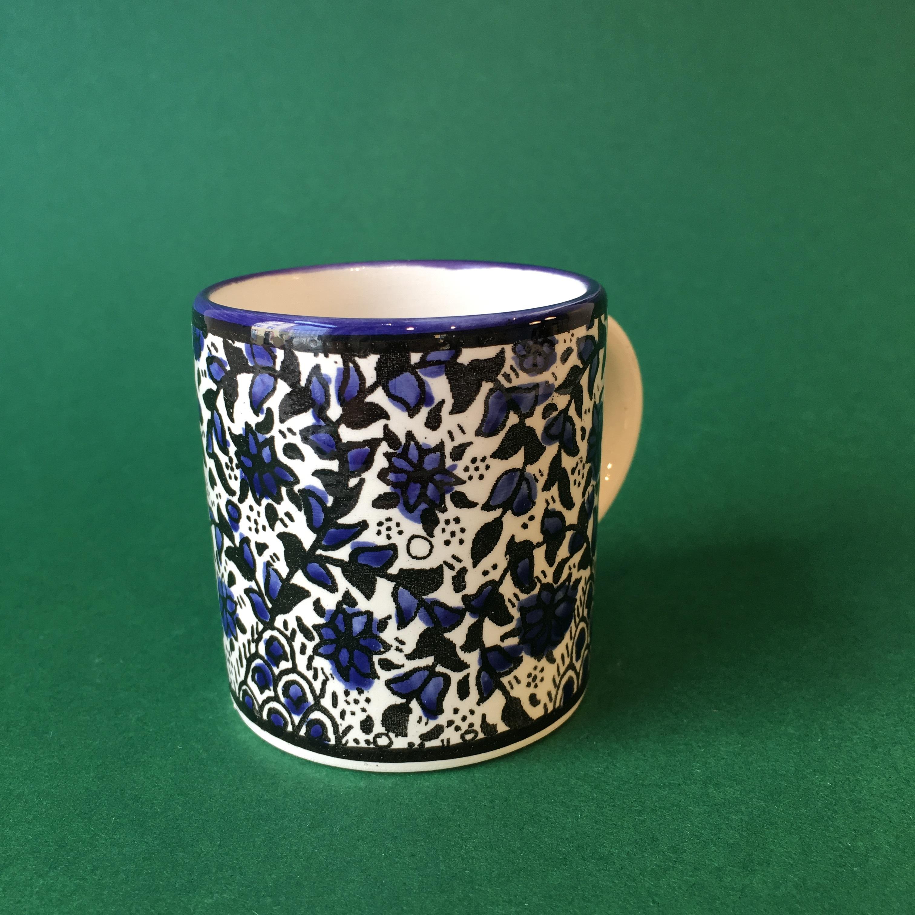 Liten keramikkopp, blå (lite mønster)