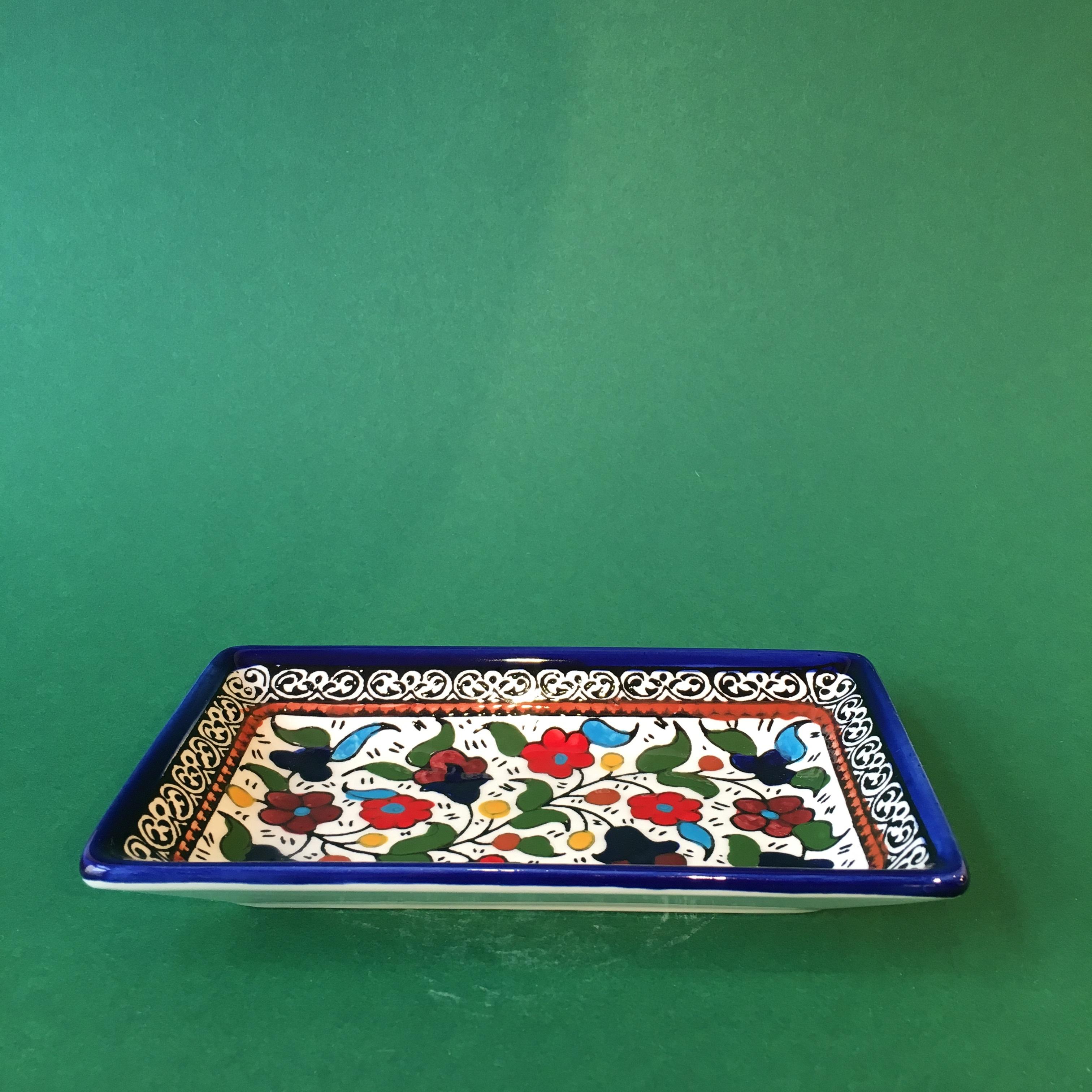 Firkantet keramikkskål, flerfarget