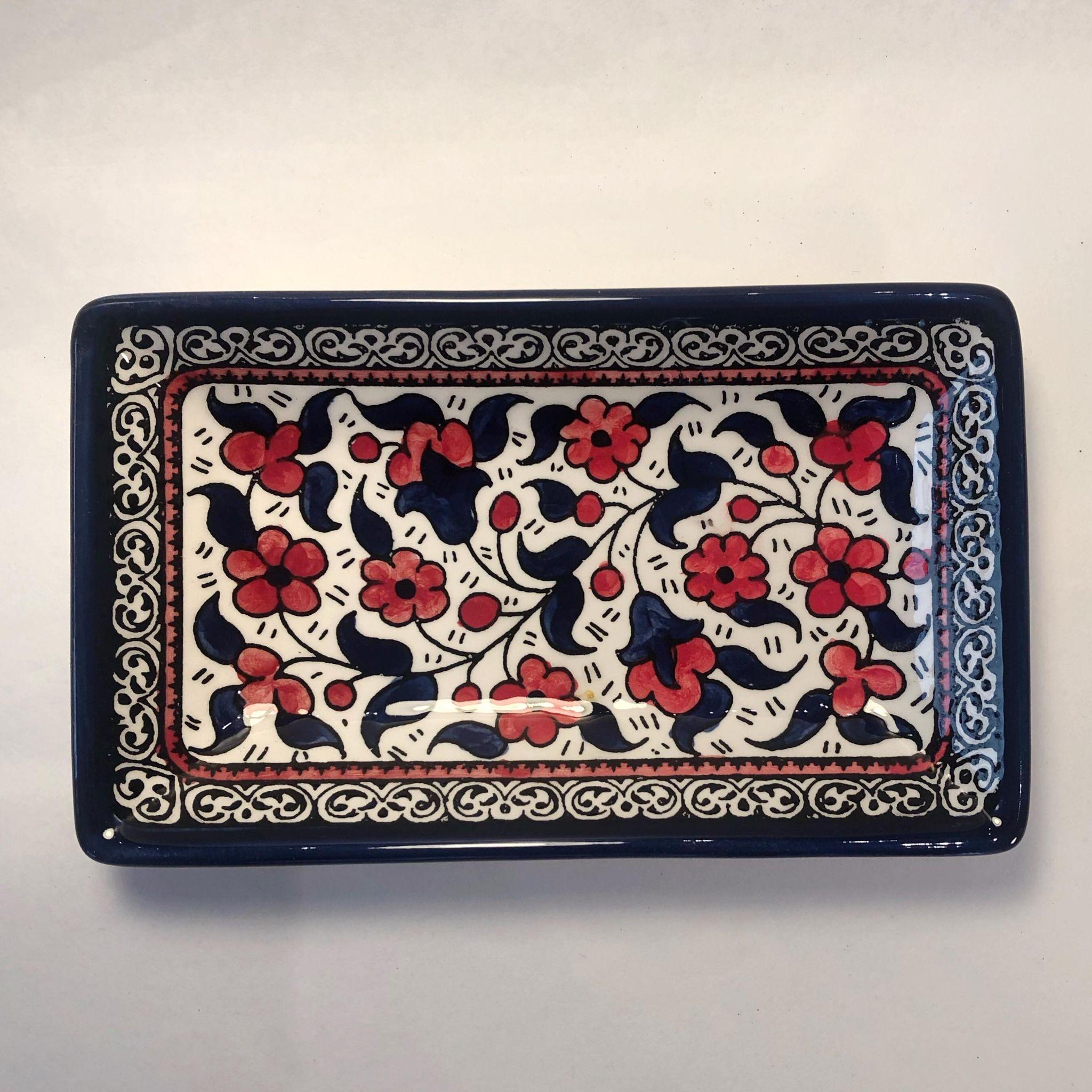 Firkantet keramikkskål, blå og rød