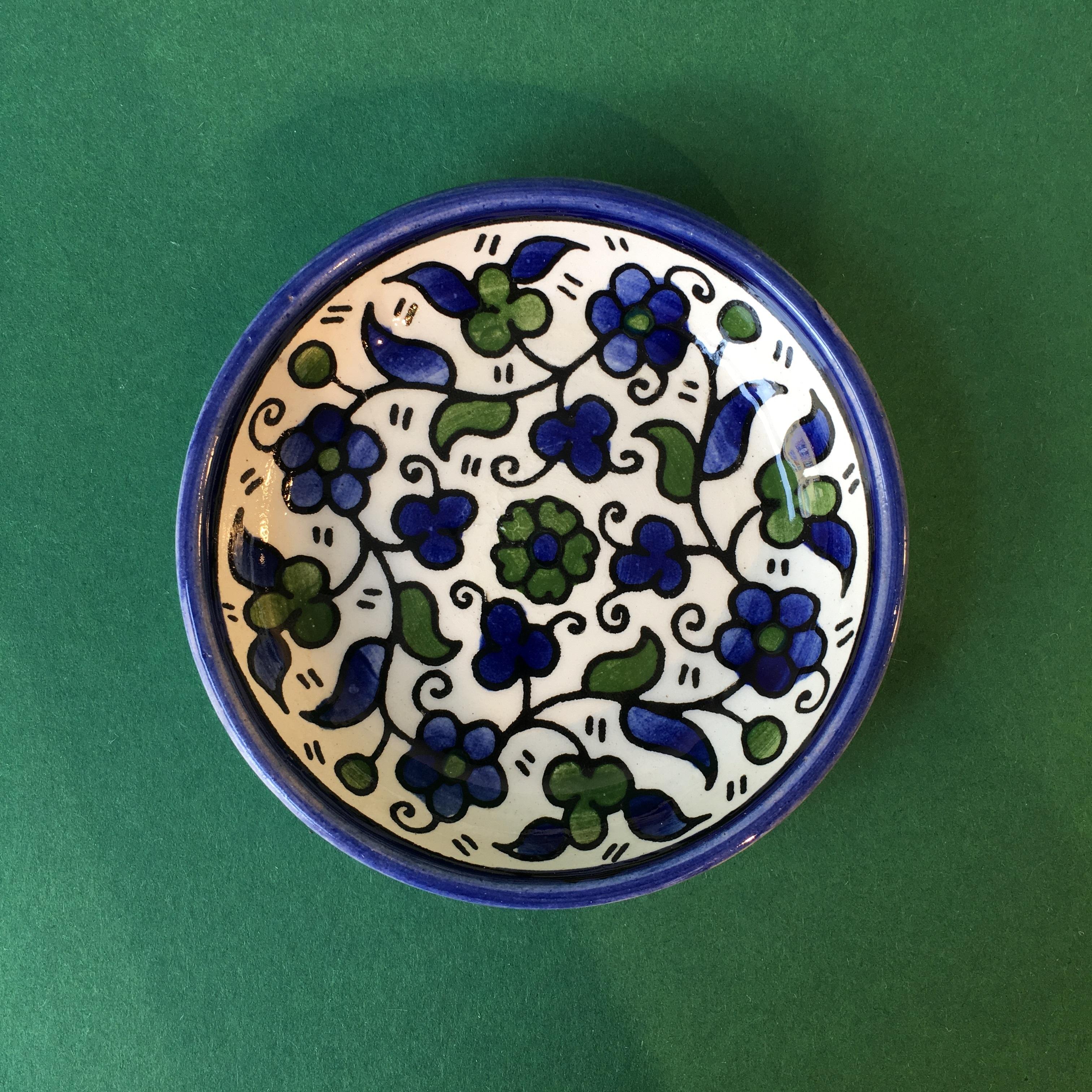 Mini keramikkskål, blå og grønn