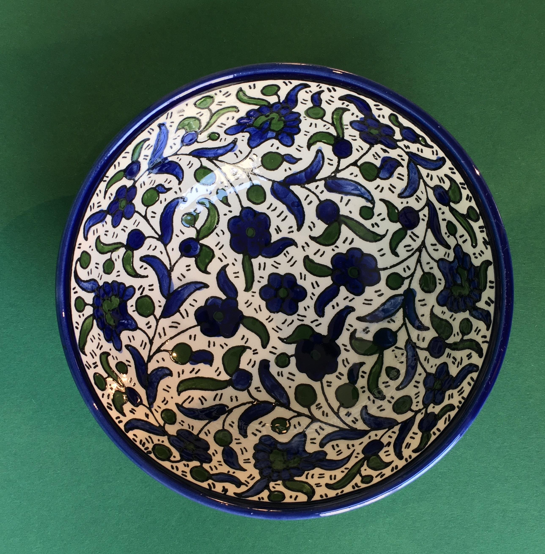 Mellomstor keramikkskål, grønn og blå