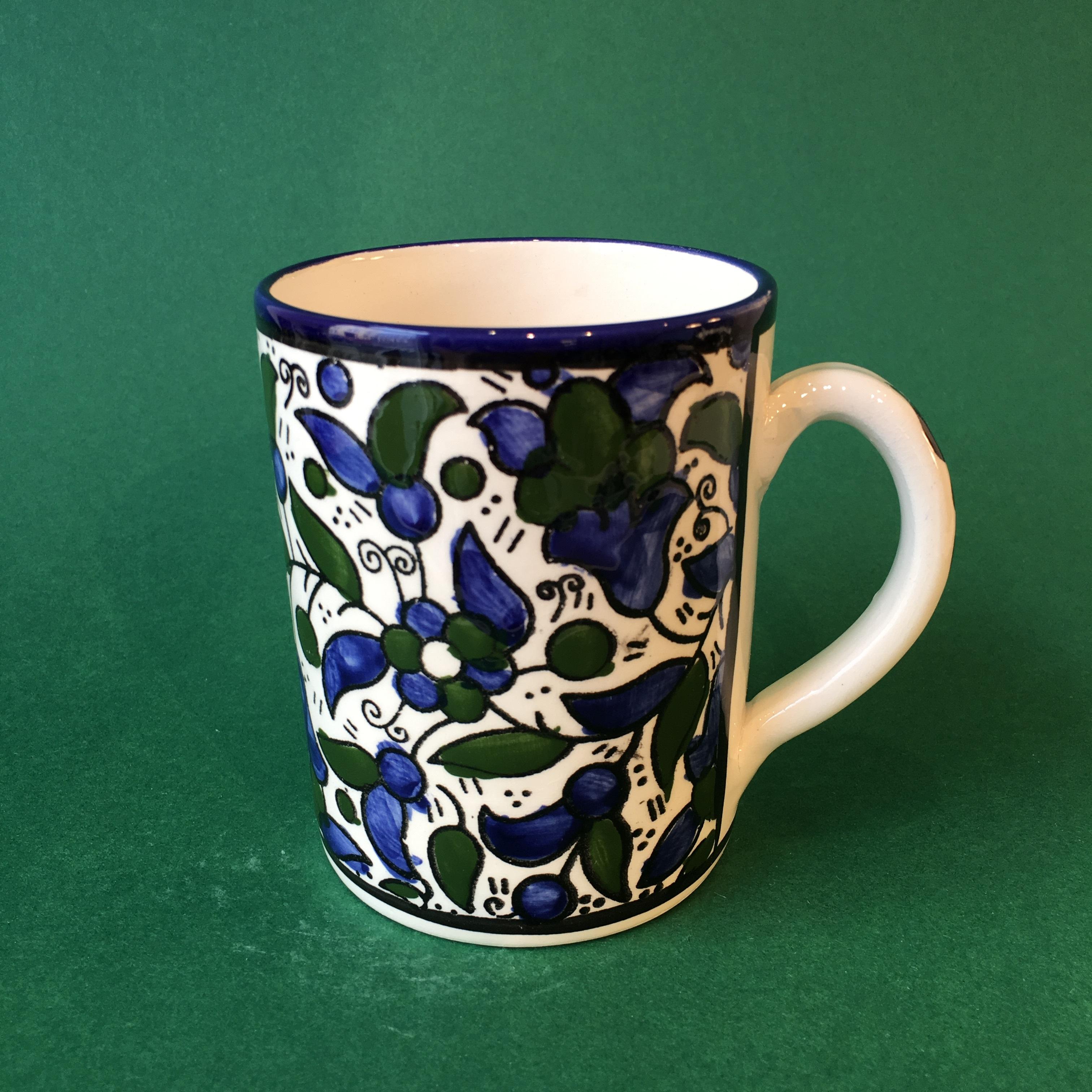 Stor keramikkopp, blå og grønn