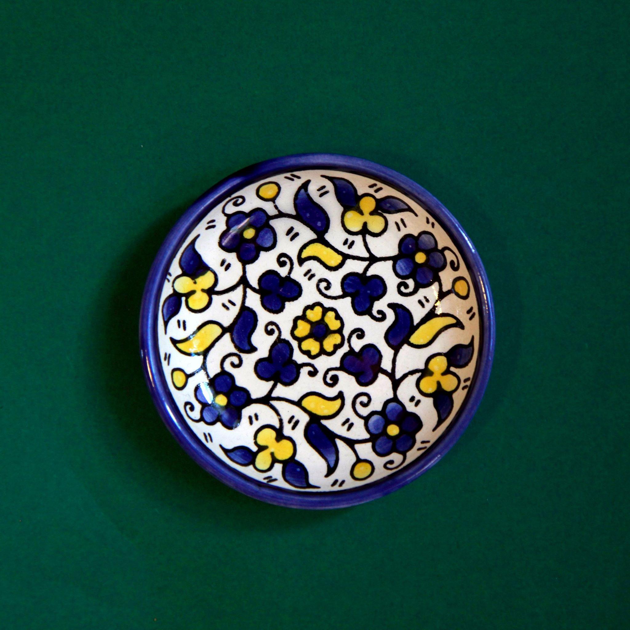 Mini keramikkskål, blå og gul