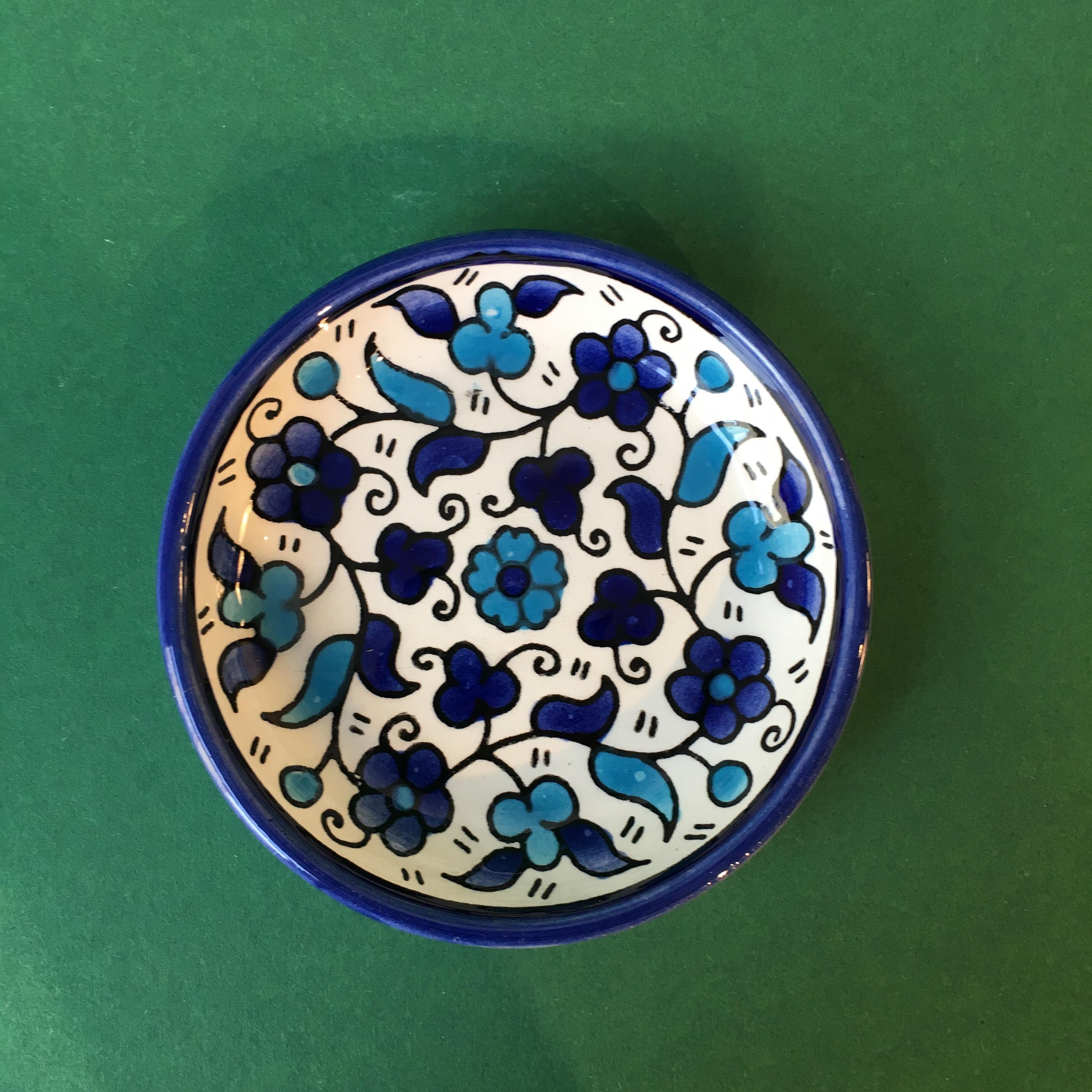 Mini keramikkskål, blå og lyseblå