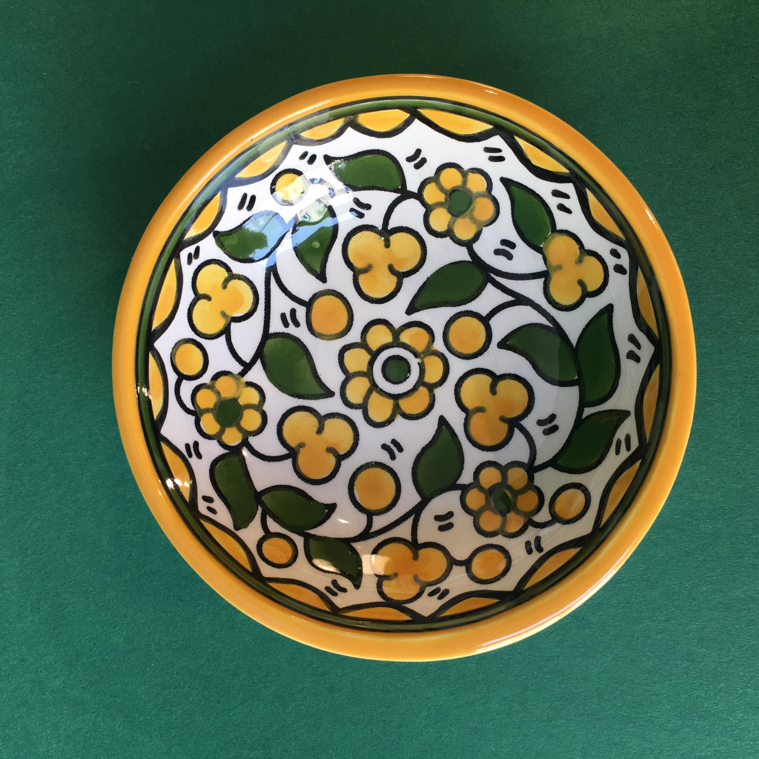 Liten keramikkskål, gul
