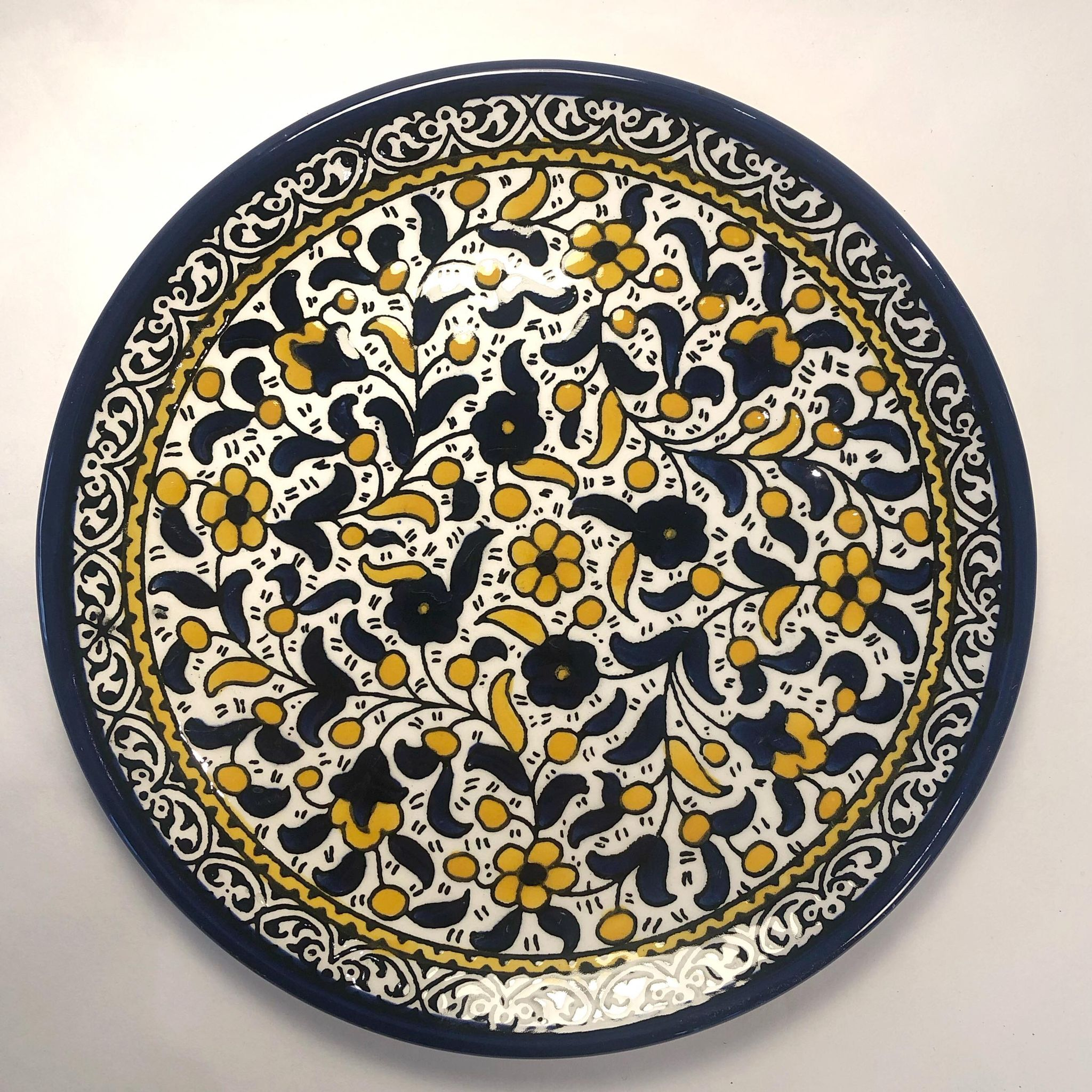 Liten tallerken, blå og gul
