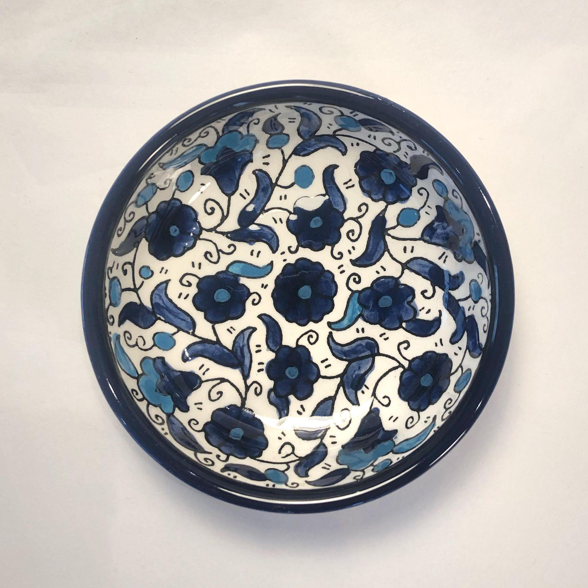 Liten keramikkskål, blå og lyseblå