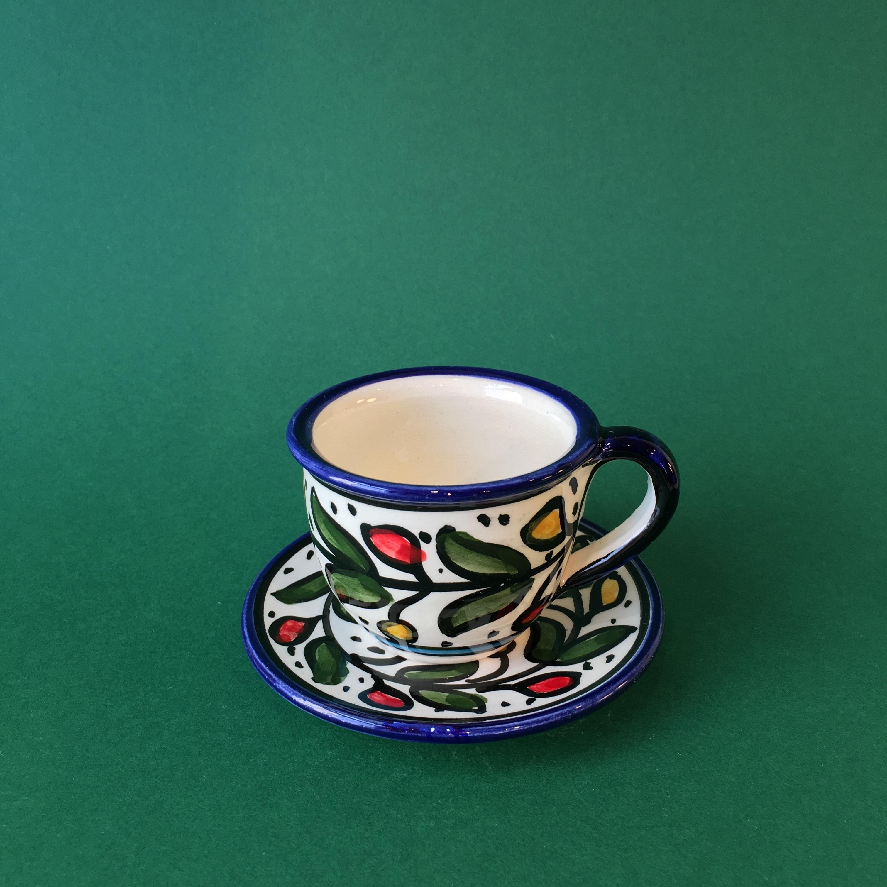 Kopp med skål, flerfarget keramikk