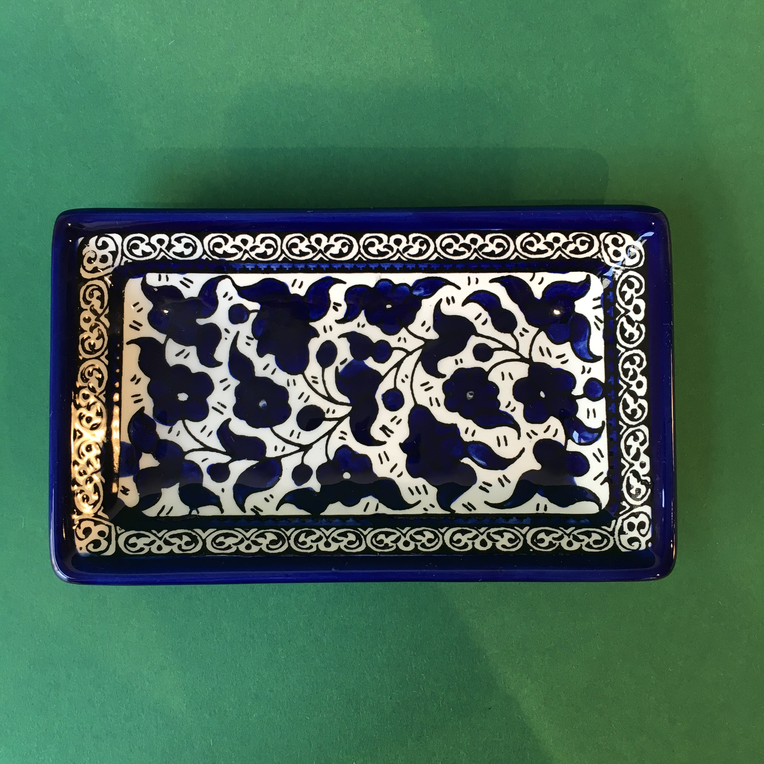 Firkantet keramikkskål, blå