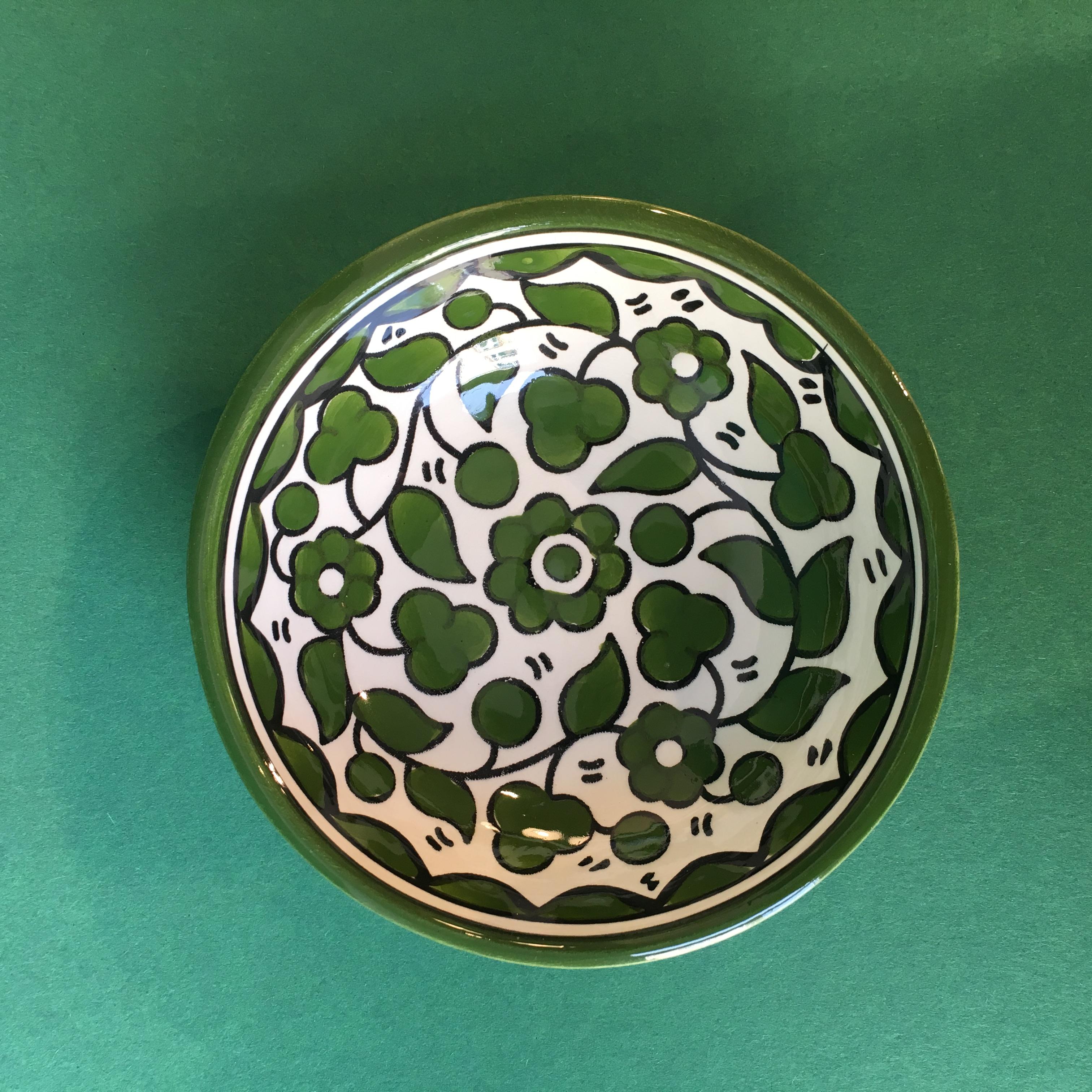 Liten keramikkskål, grønn