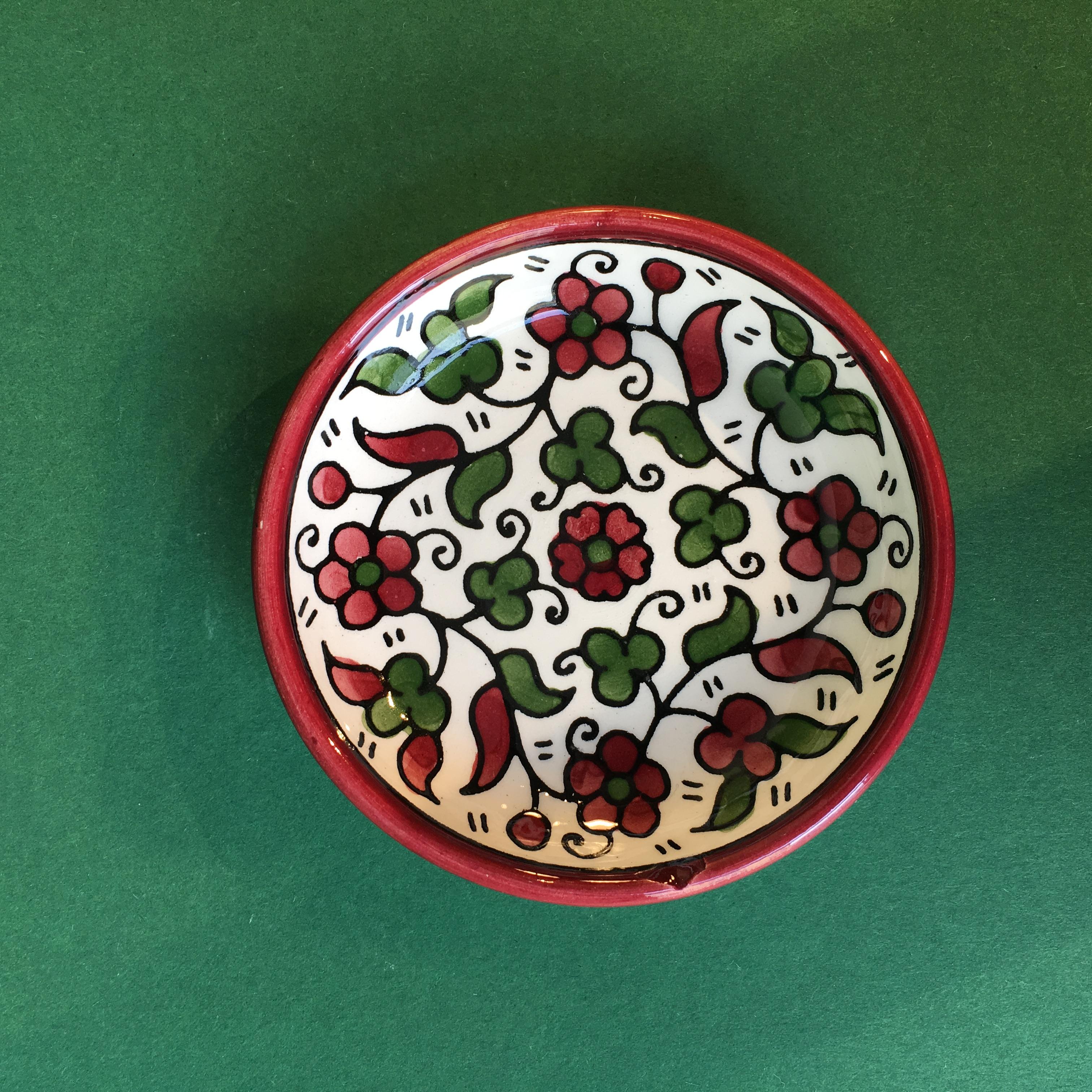 Mini keramikkskål, rød og grønn