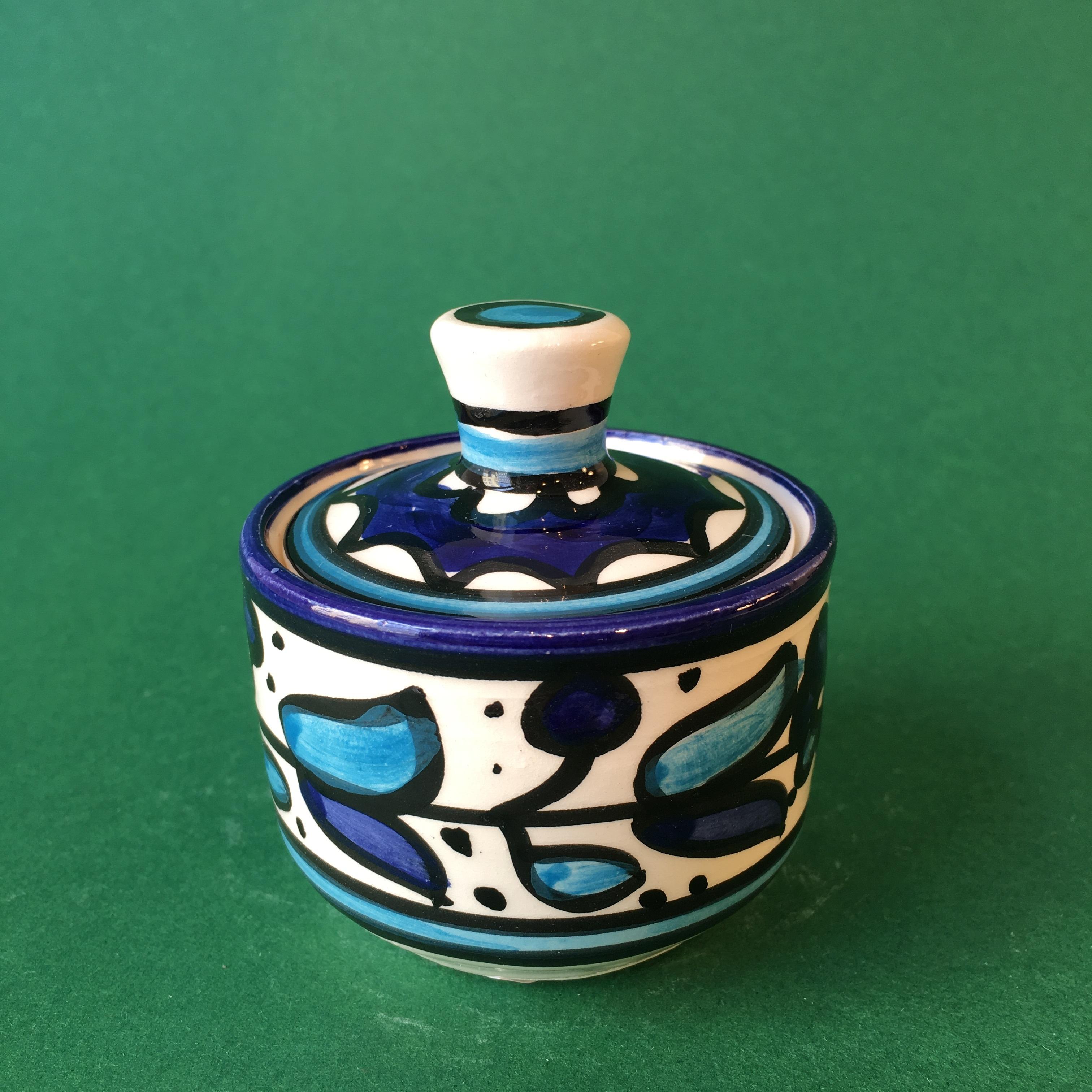 Liten krukke med lokk, blå og lyseblå