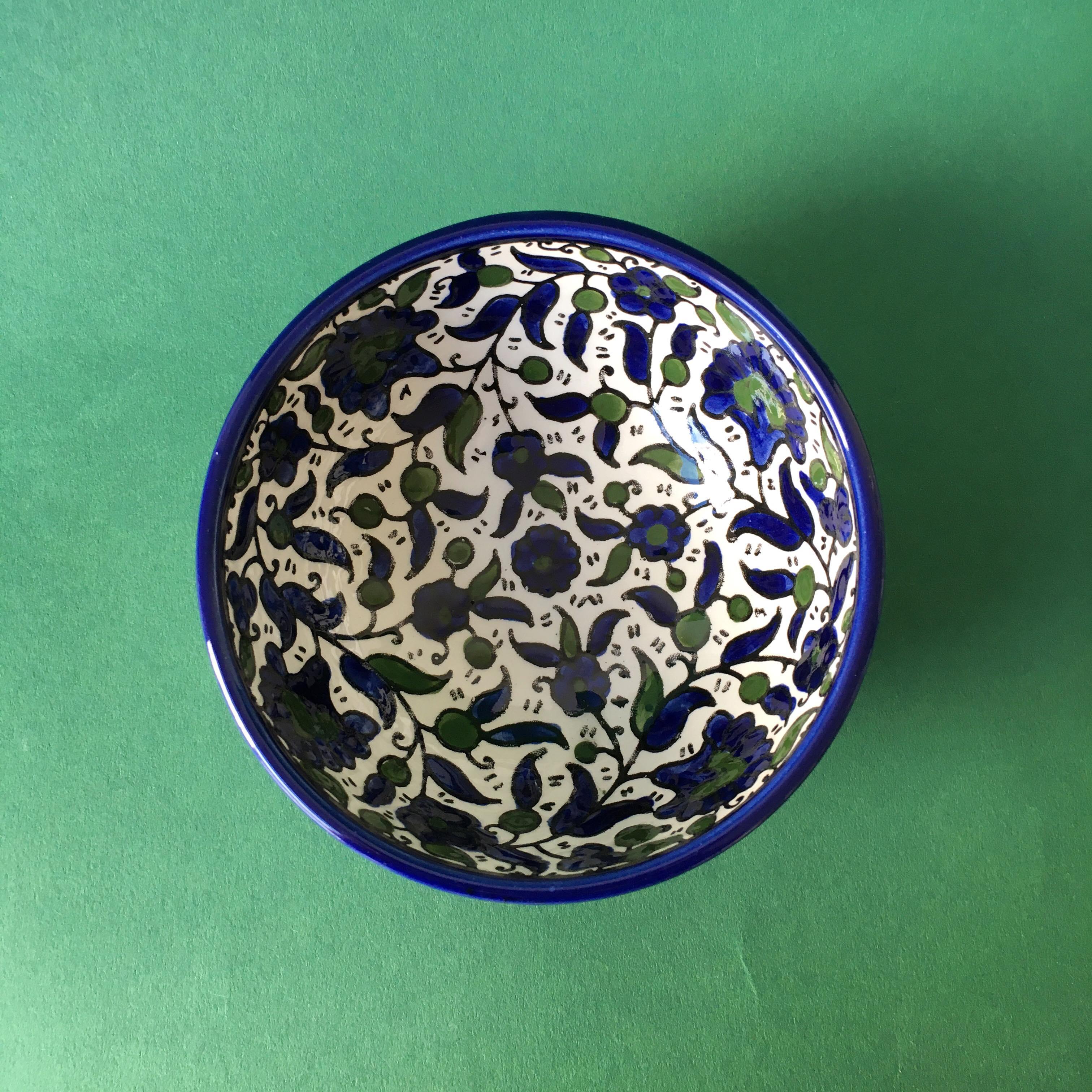 Keramikkskål, blå og grønn