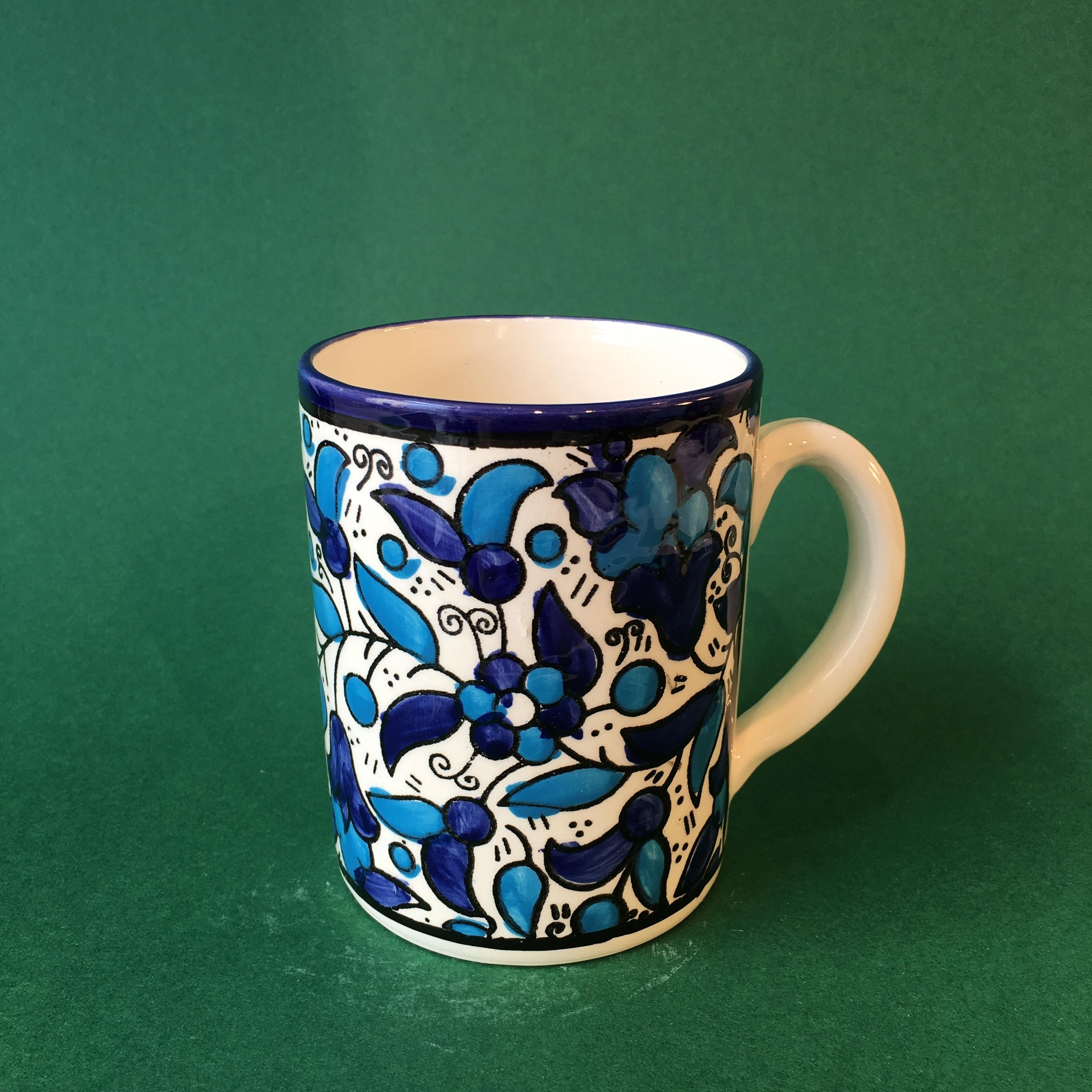 Stor keramikkopp, blå og lyseblå