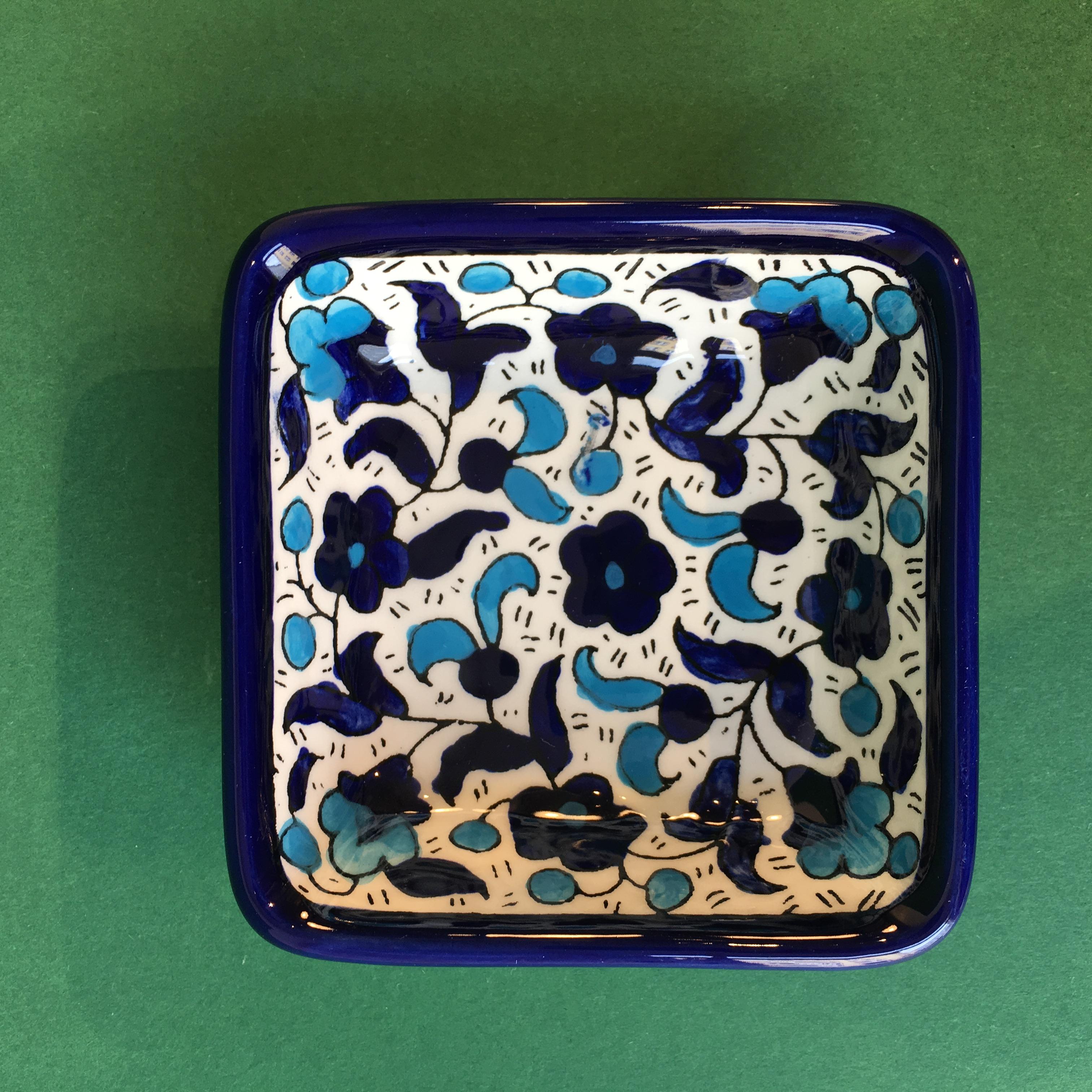 Kvadratisk keramikkskål, blå og lyseblå