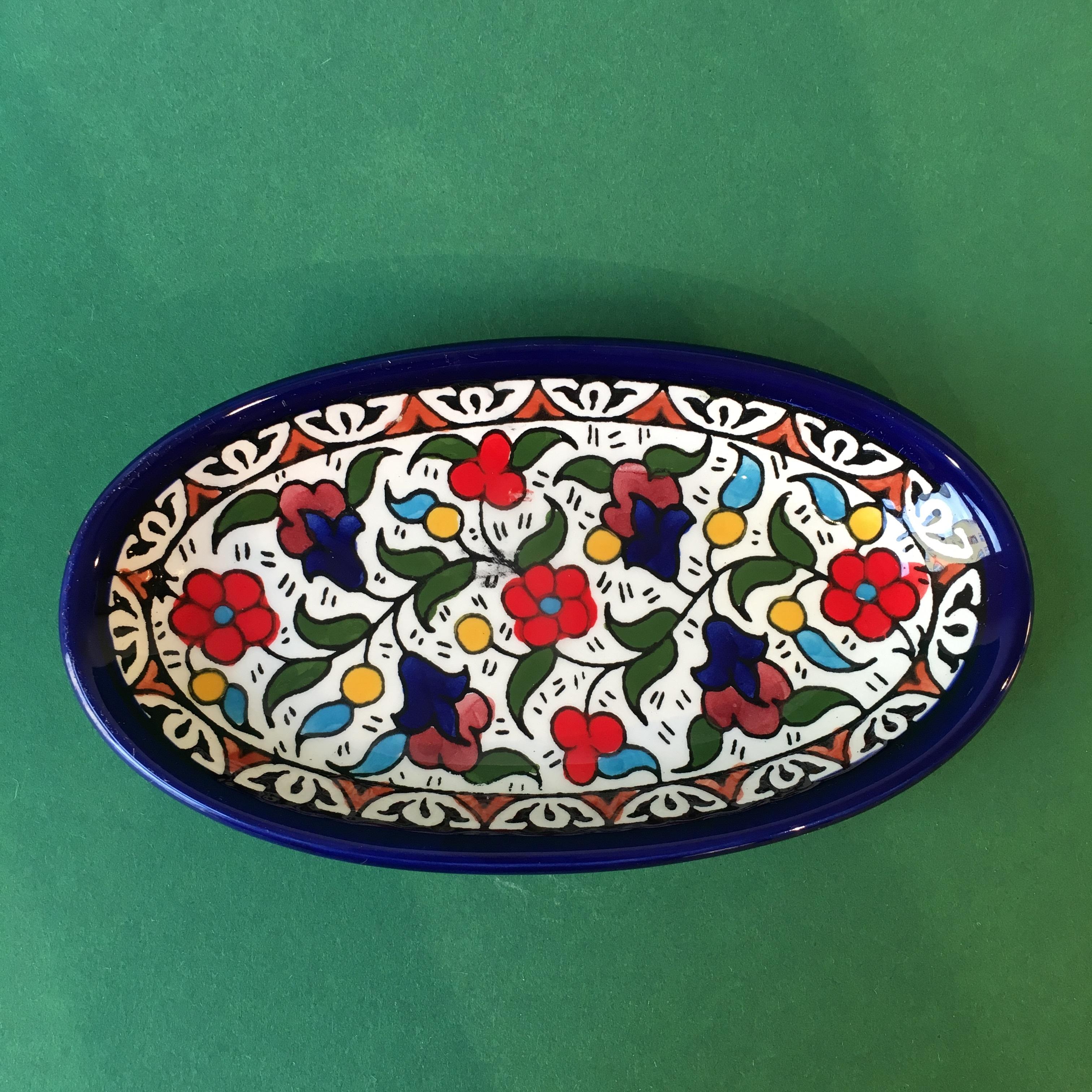 Ovalt keramikkfat, flerfarget