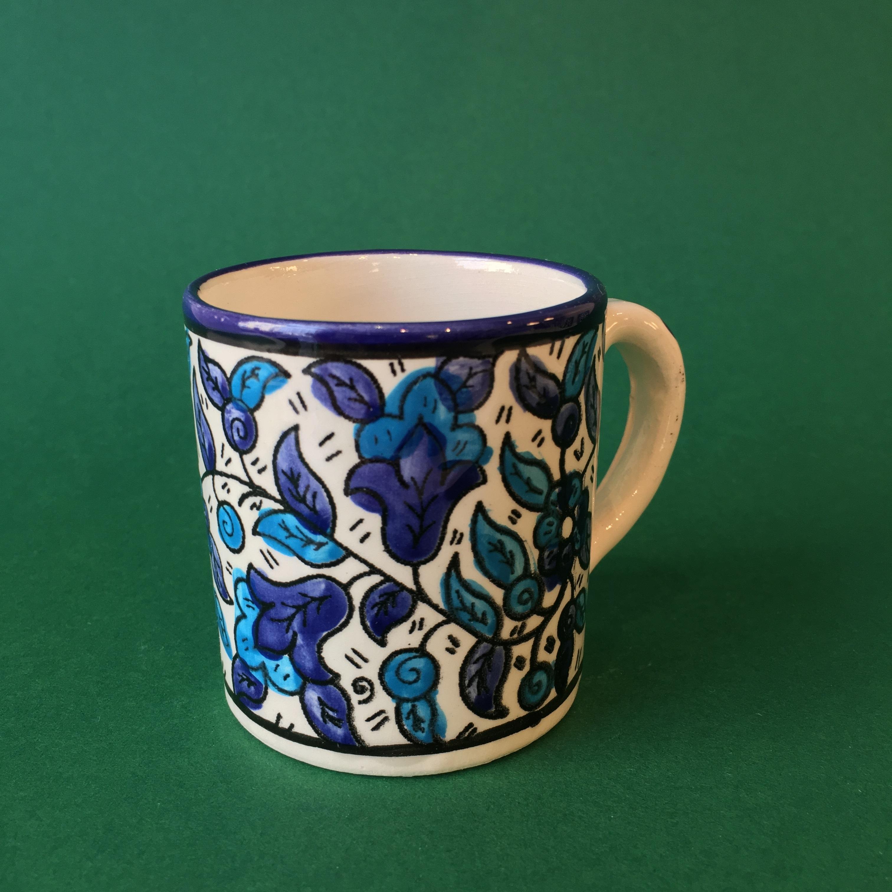 Liten keramikkopp, blå og lyseblå