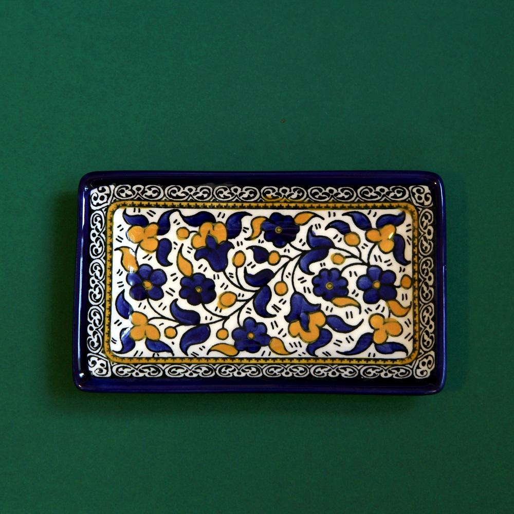 Firkantet keramikkskål, blå og gul