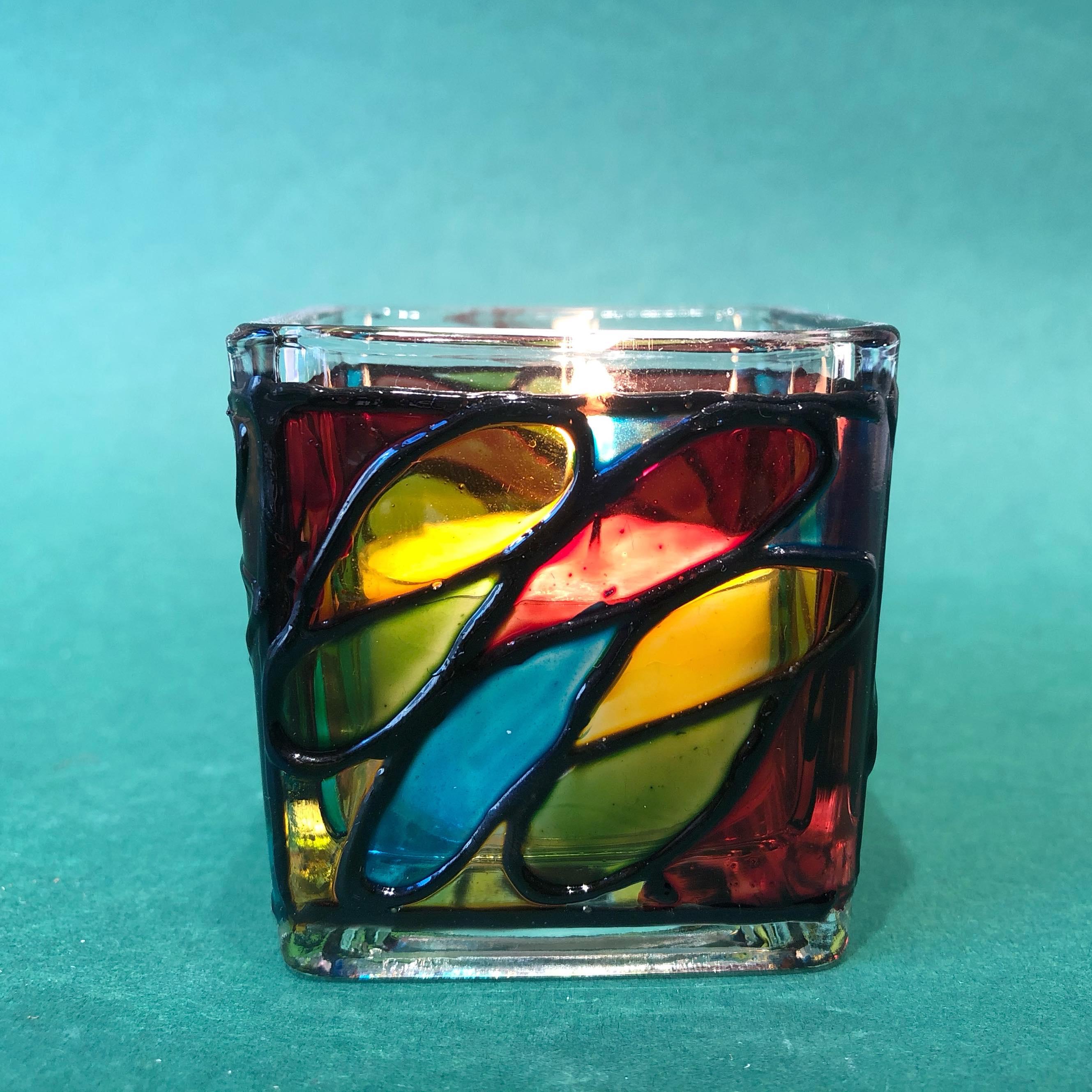 Lyslykt i glass, firkantet