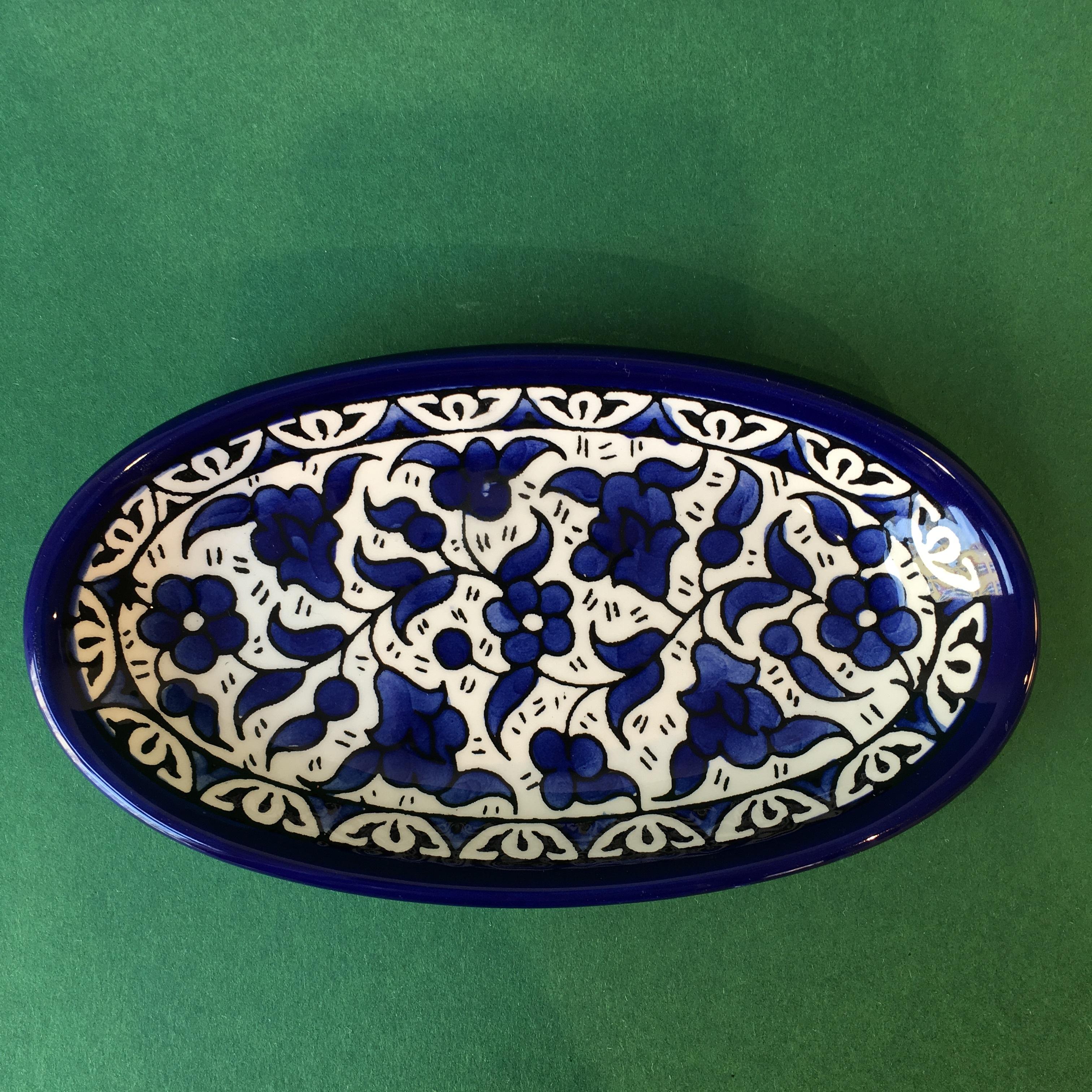 Ovalt keramikkfat, blått